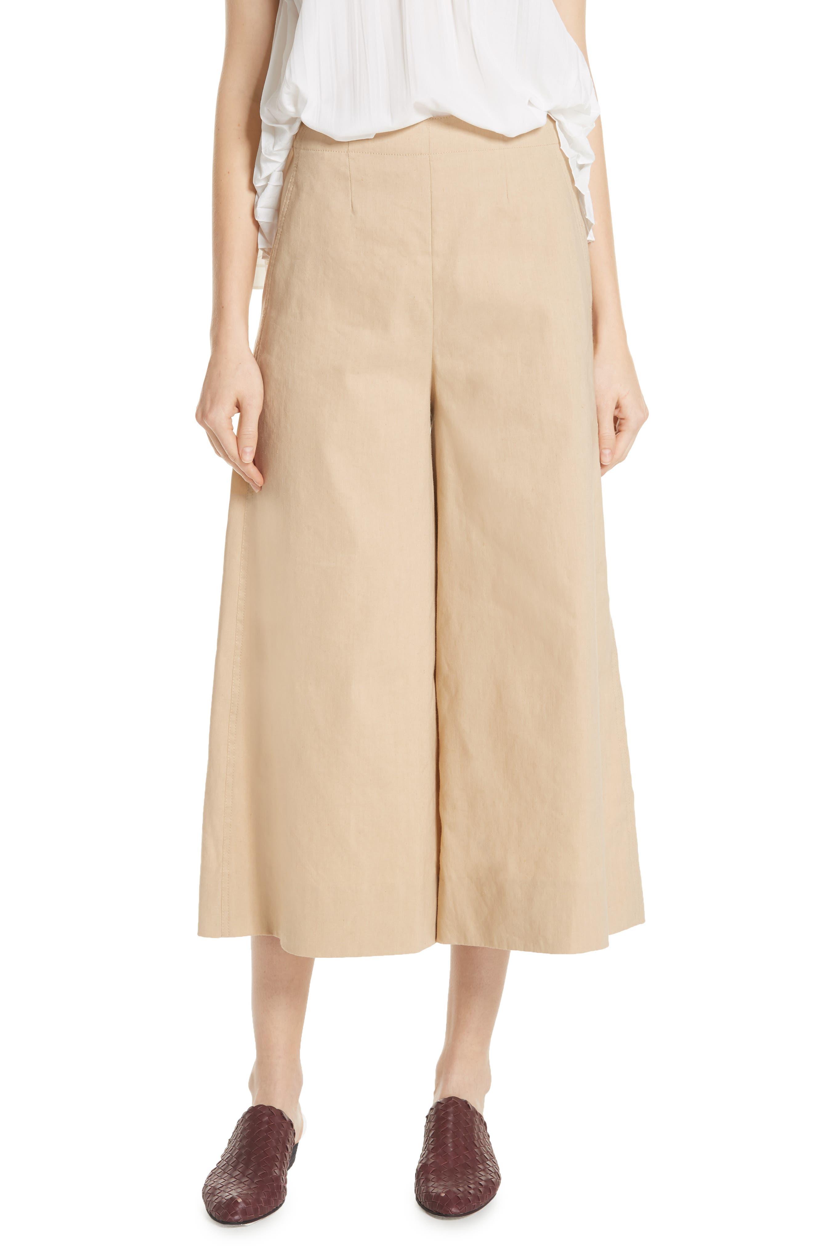 High Rise Linen Blend Culottes,                         Main,                         color, KHAKI