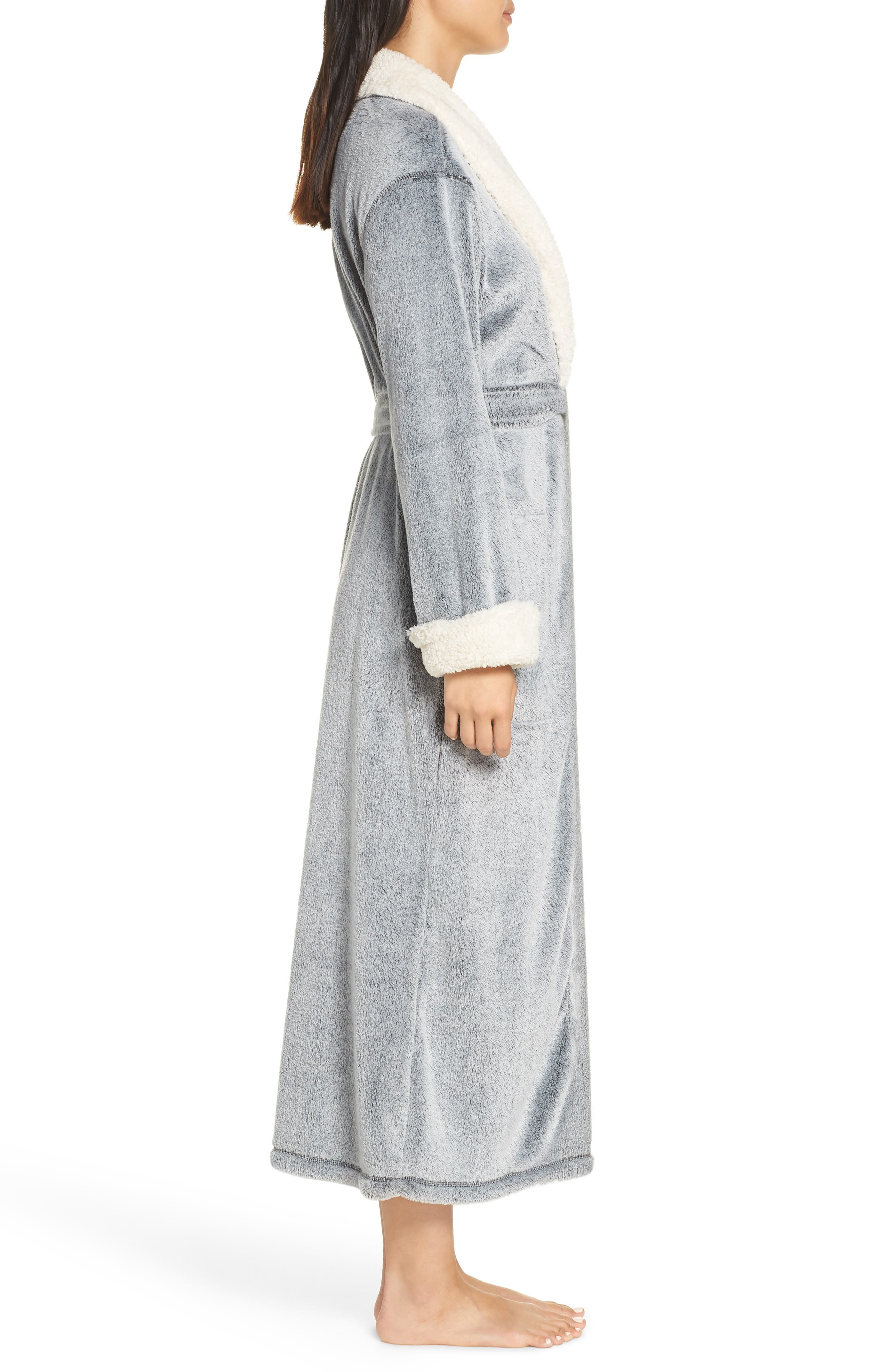 Plush Velour Robe,                             Alternate thumbnail 3, color,                             BLACK