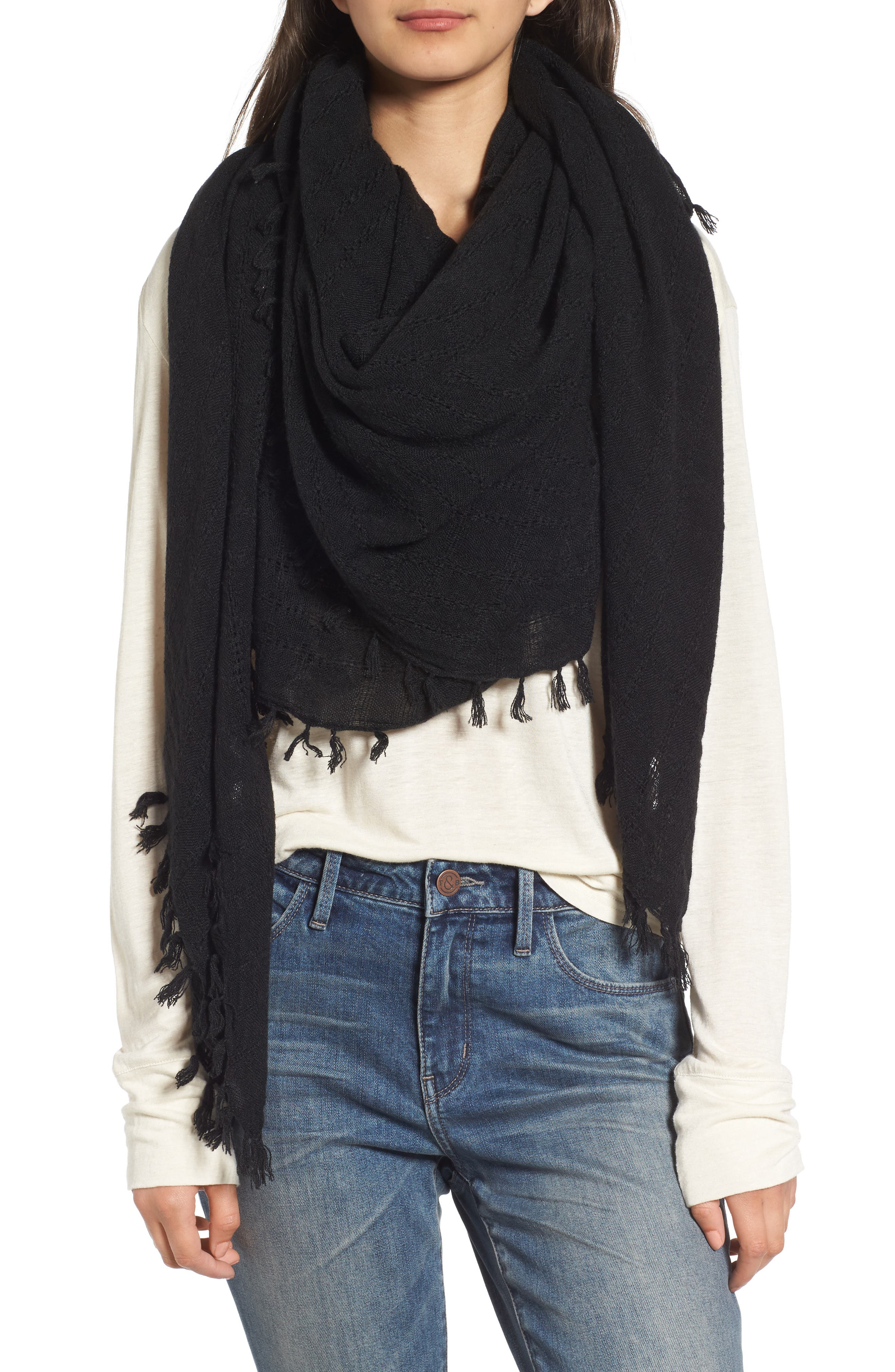 Knotted Tassel Scarf,                         Main,                         color, 001
