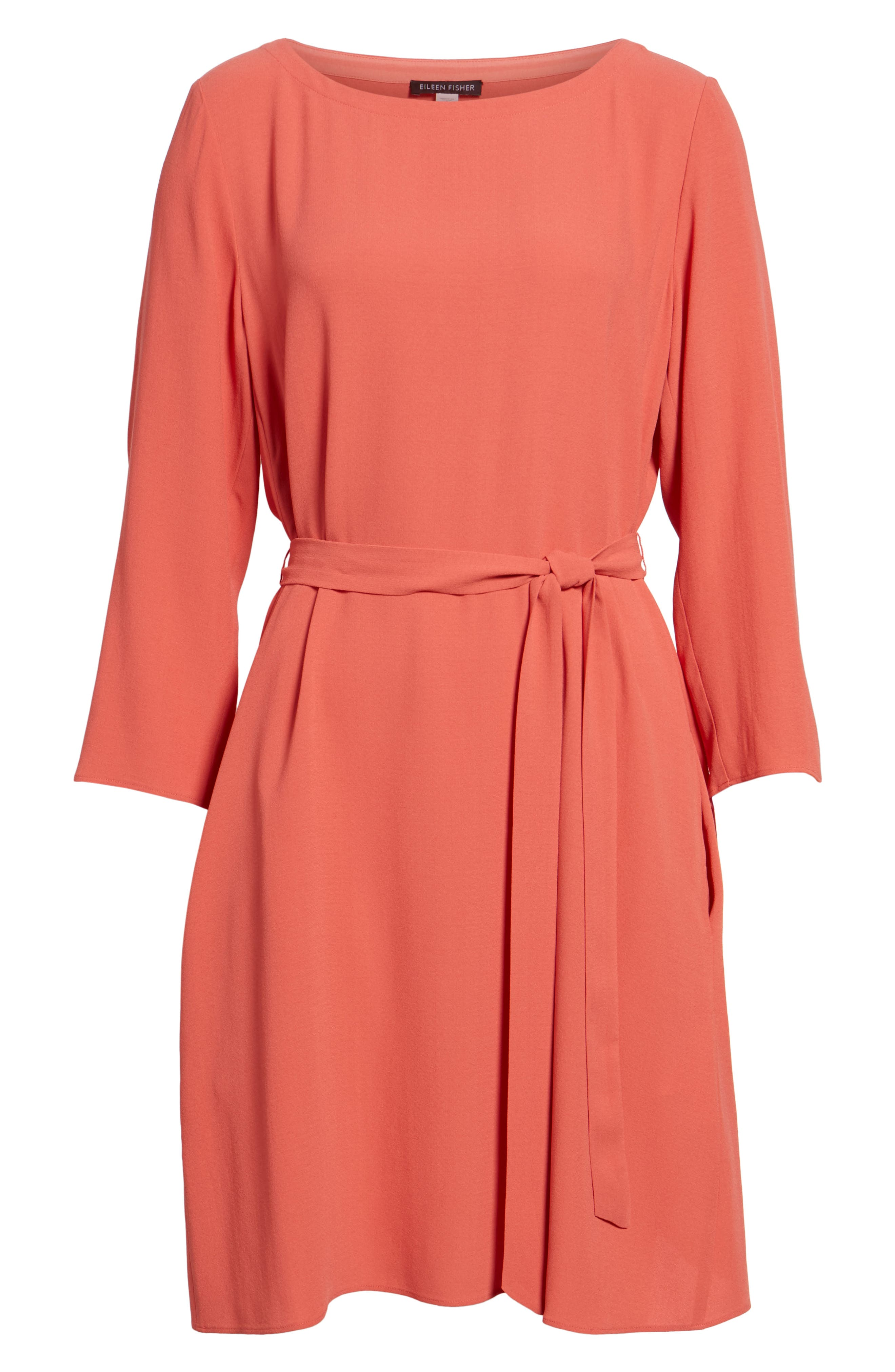 Bateau Neck Silk Dress,                             Alternate thumbnail 12, color,