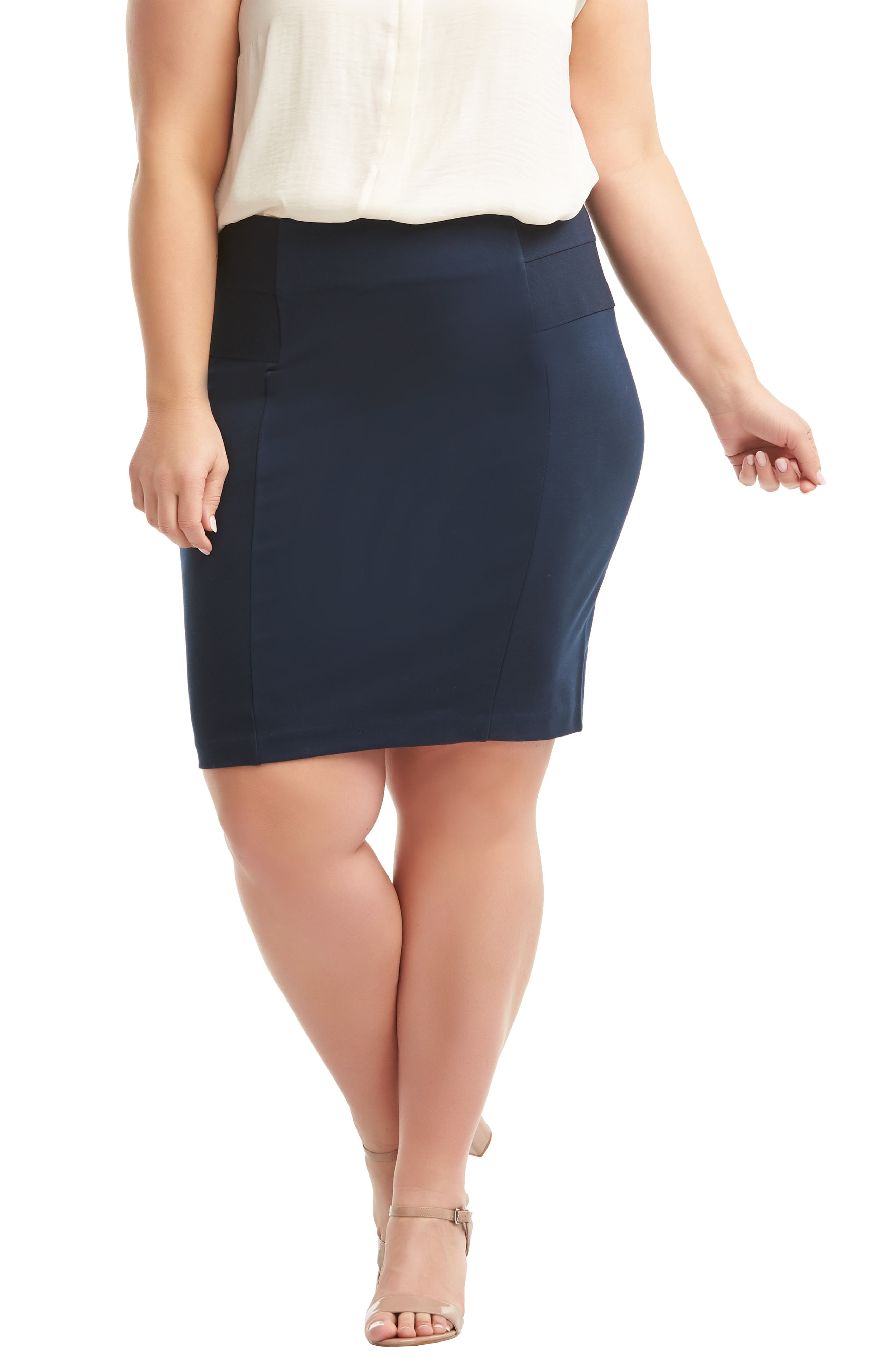 Plus Size Lemon Tart Autumn Pencil Skirt, Blue