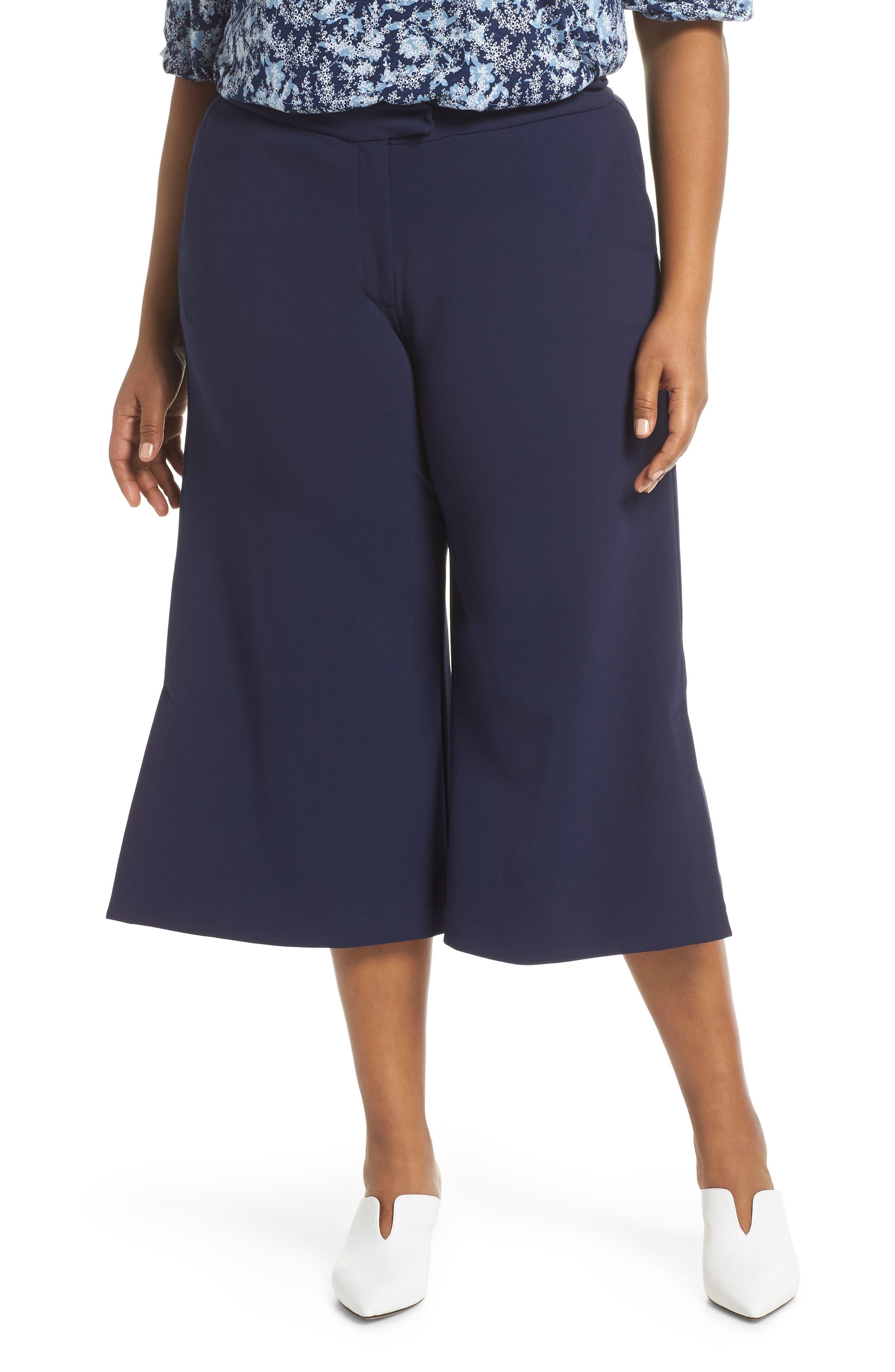 Plus Size Michael Michael Kors Capri Wide Leg Pants, Blue