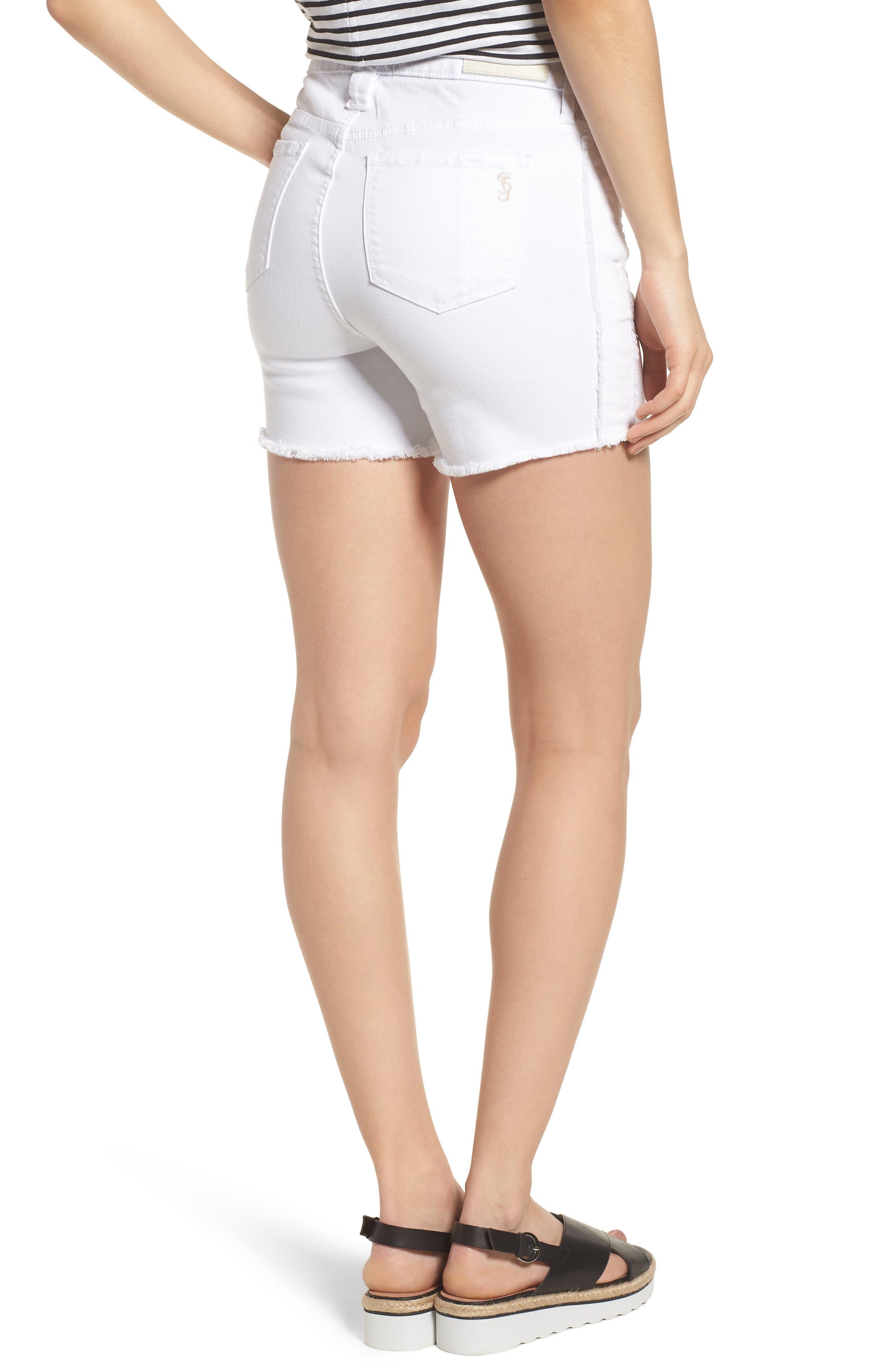 Tux Frayed Denim Shorts,                             Alternate thumbnail 2, color,
