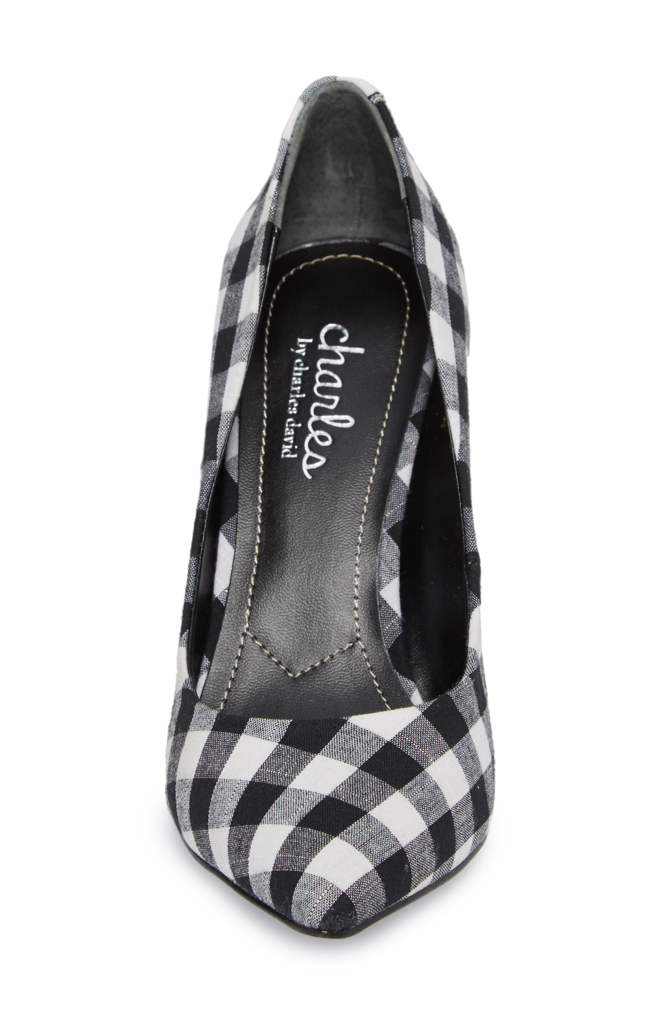 Maxx Pointy Toe Pump,                             Alternate thumbnail 4, color,                             BLACK/ WHITE GINGHAM FABRIC