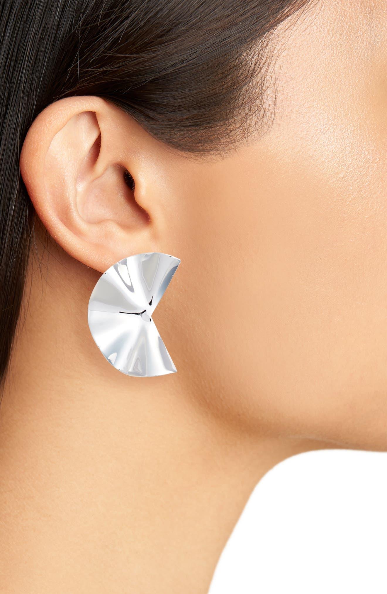 Liquid Petal Stud Earrings,                             Alternate thumbnail 2, color,                             SILVER