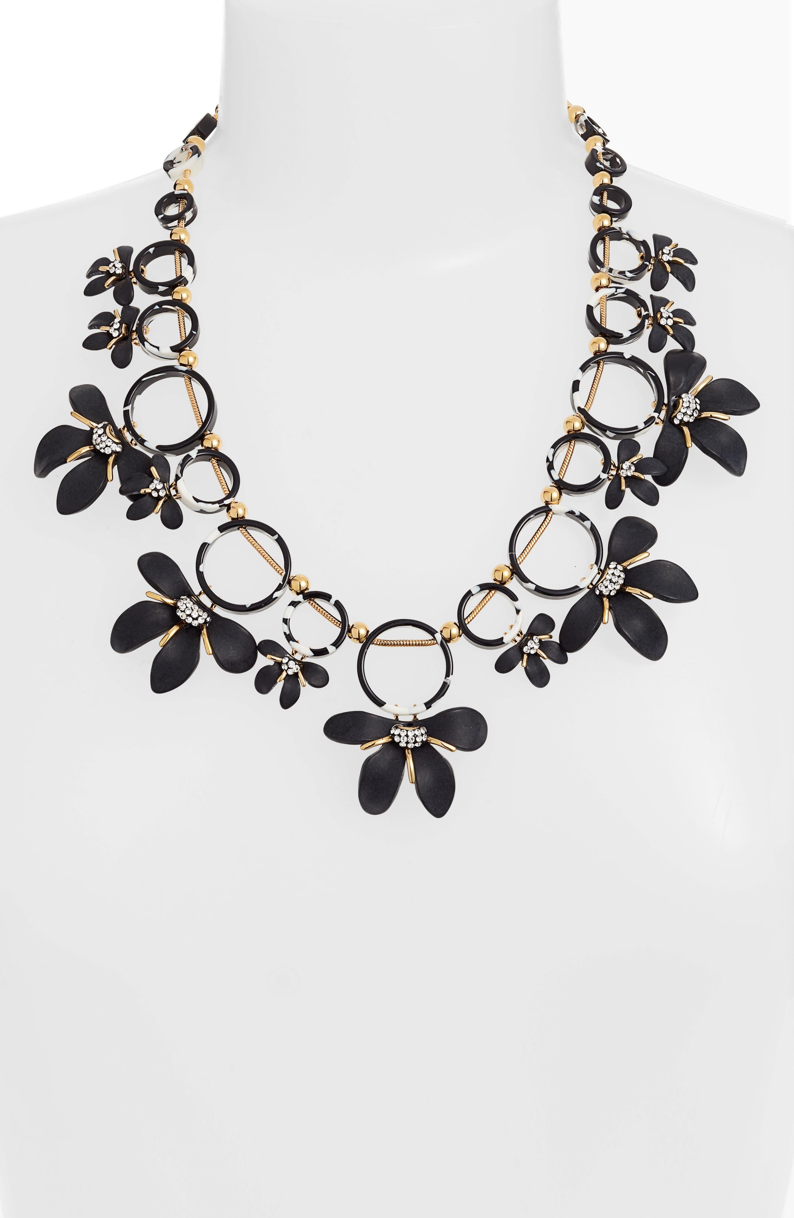 LELE SADOUGHI,                             Crystal Lily Collar Necklace,                             Alternate thumbnail 2, color,                             JET