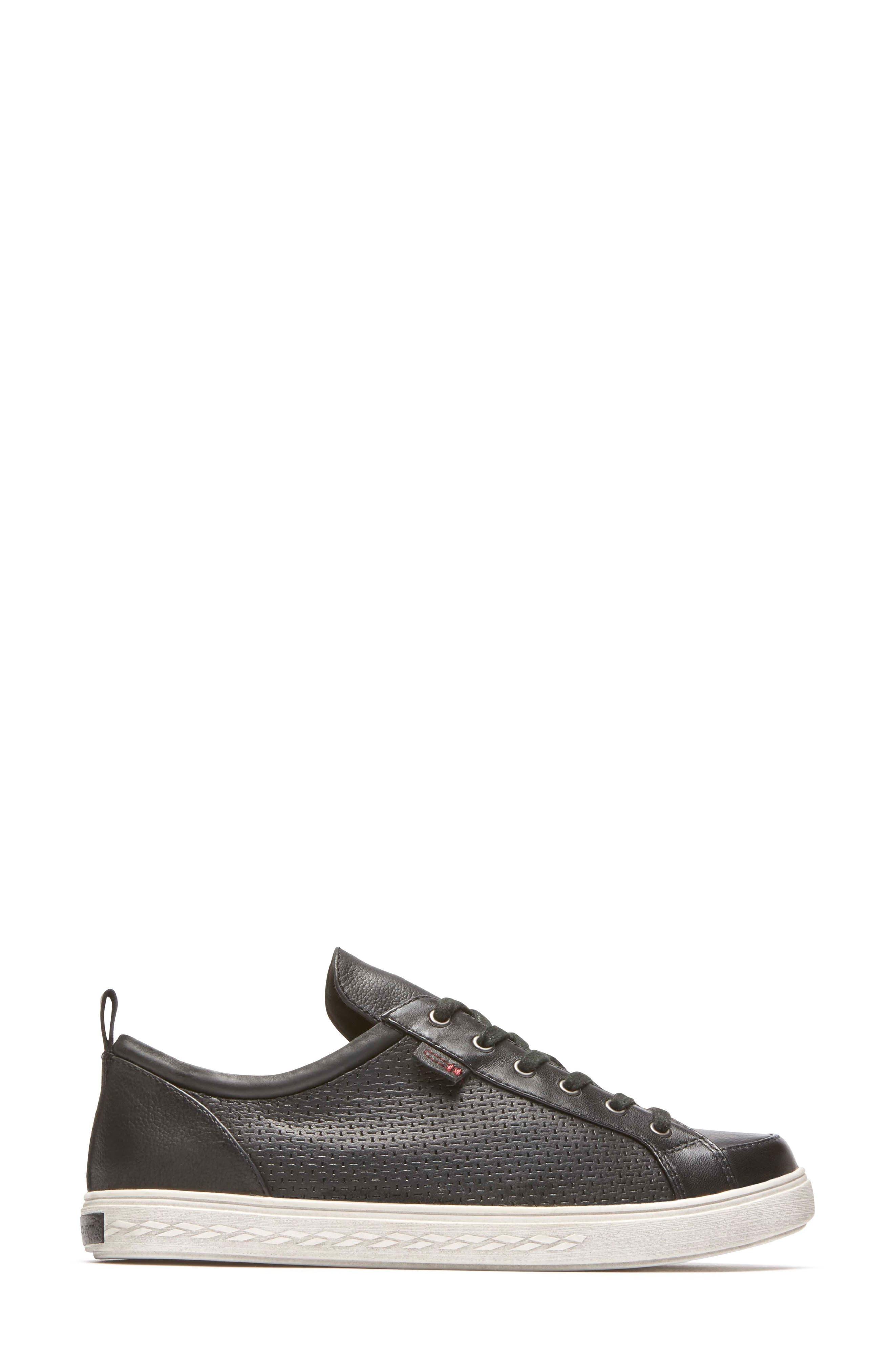 Willa Sneaker,                             Alternate thumbnail 3, color,                             BLACK LEATHER