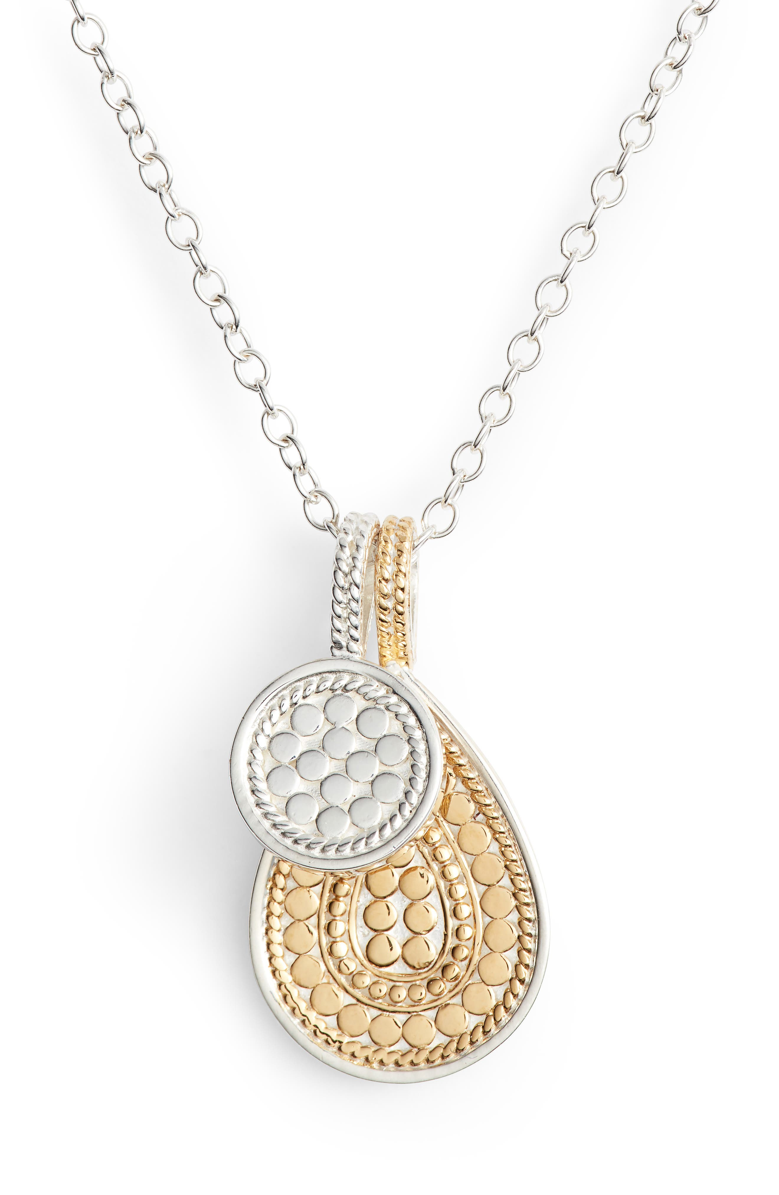 ANNA BECK Reversible Double Pendant Necklace in Gold/ Silver