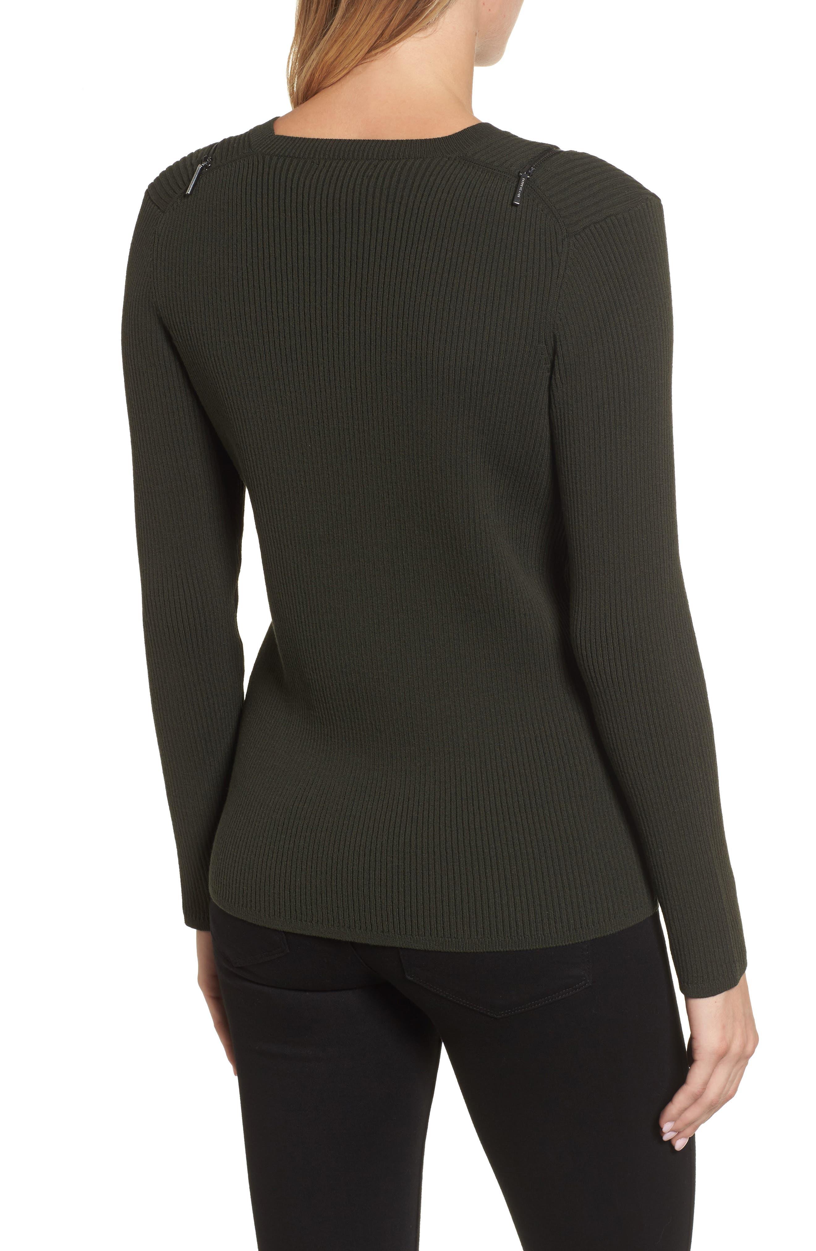 Zip Shoulder Ribbed Sweater,                             Alternate thumbnail 4, color,