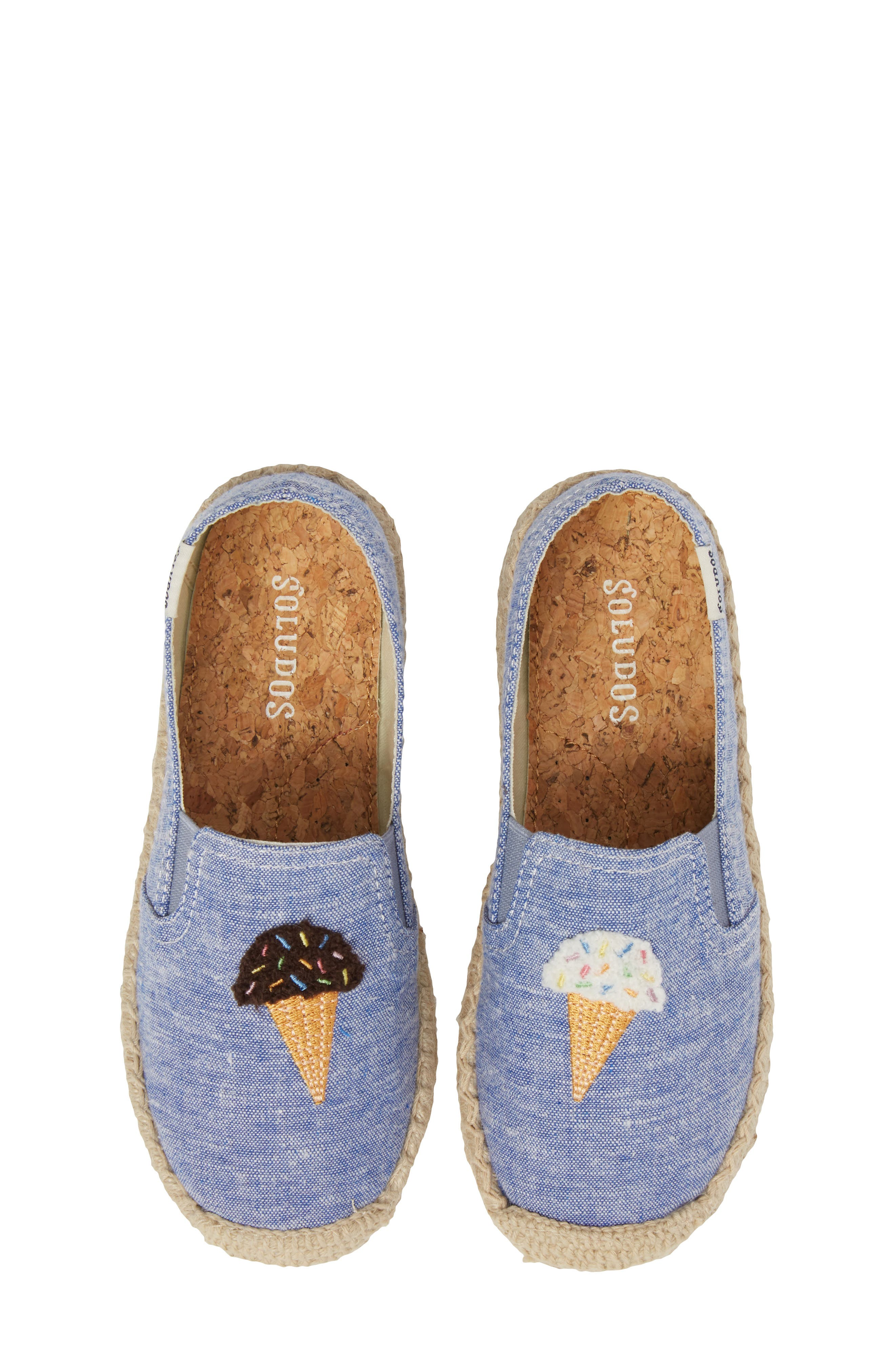 Ice Cream Embroidered Espadrille,                             Main thumbnail 1, color,                             OCEAN BLUE