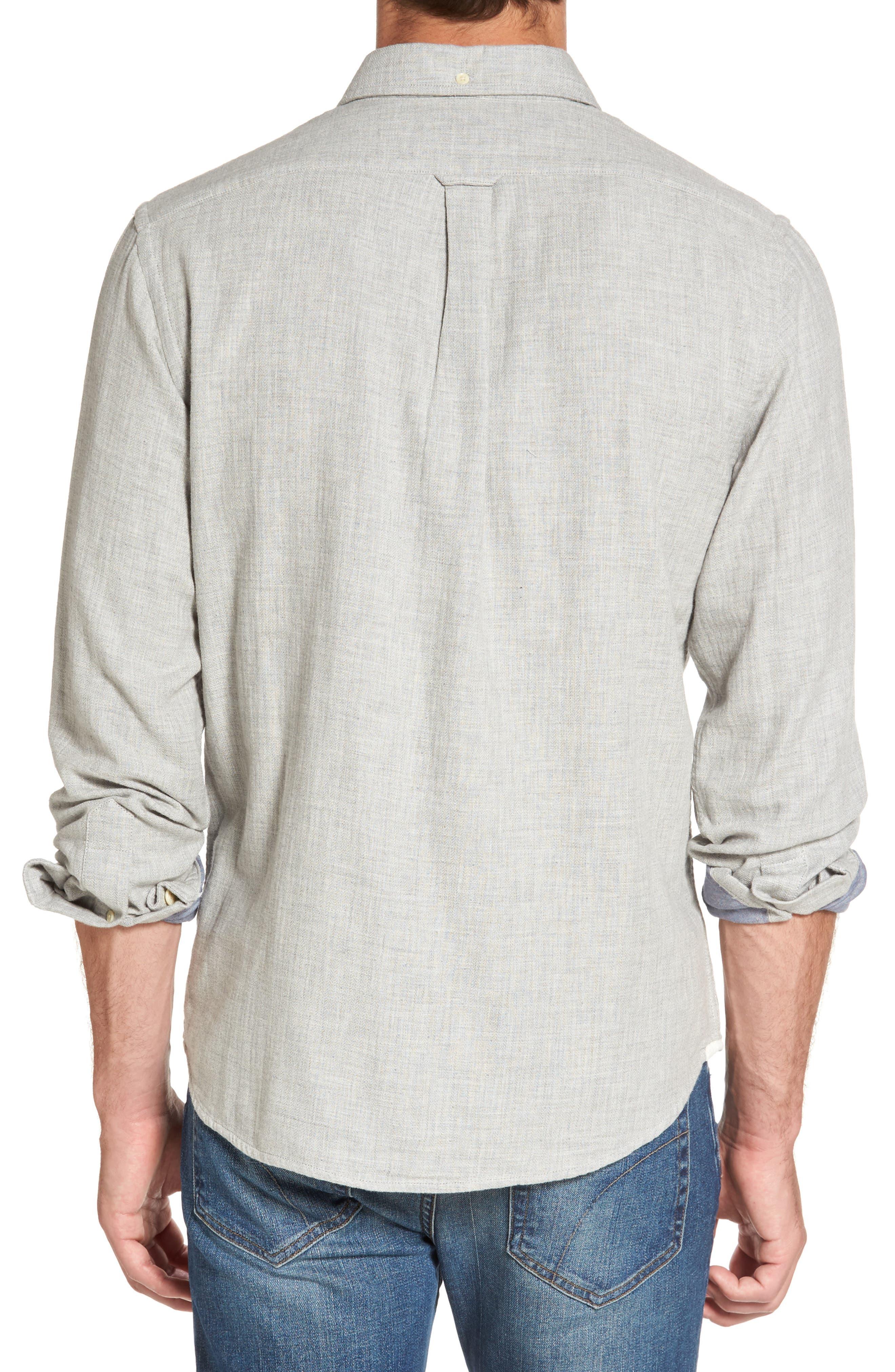Chester Modern Fit Double Cloth Herringbone Sport Shirt,                             Alternate thumbnail 2, color,
