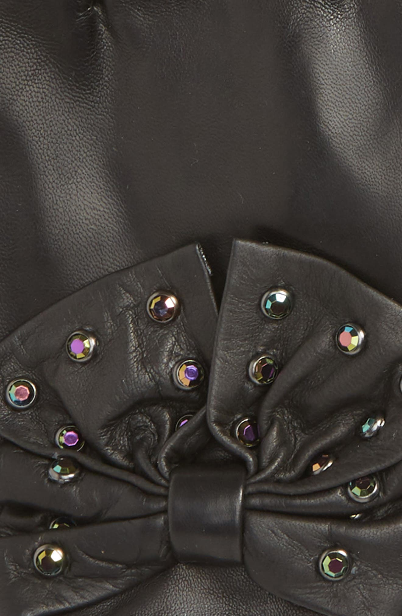Bow Short Leather Gloves,                             Alternate thumbnail 2, color,                             BLACK COMBO