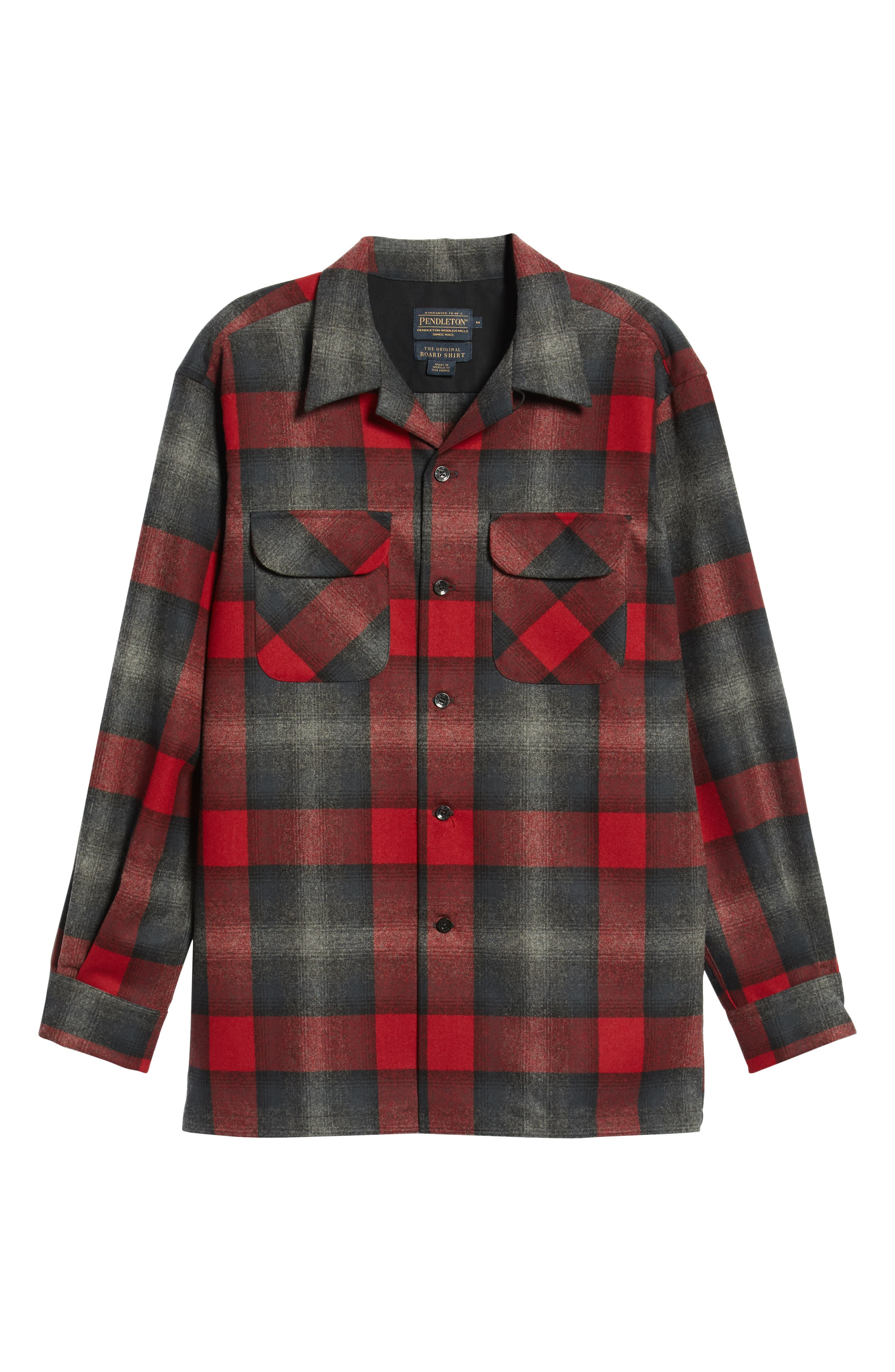 Board Wool Flannel Shirt,                             Alternate thumbnail 5, color,                             BLACK/ GREY MIX/ RED OMBRE