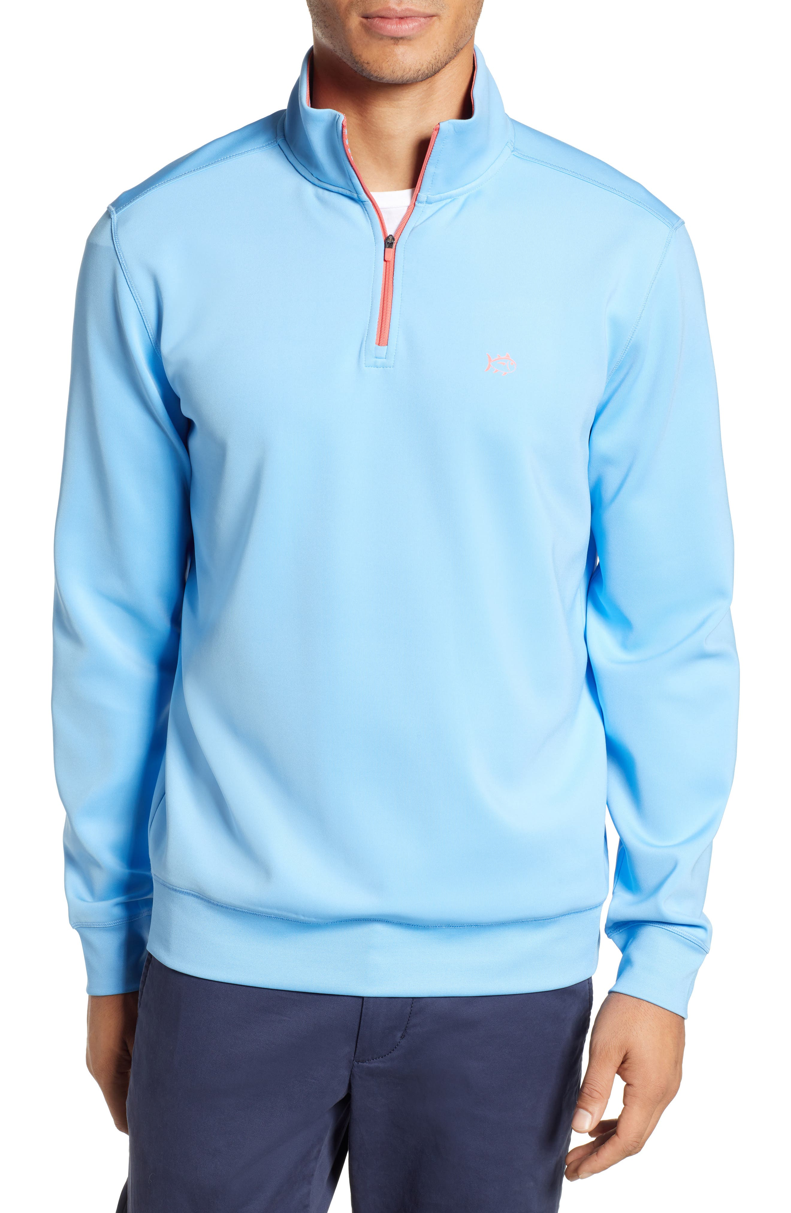 SOUTHERN TIDE Breakwater Performance Quarter Zip Pullover in Ocean Channel