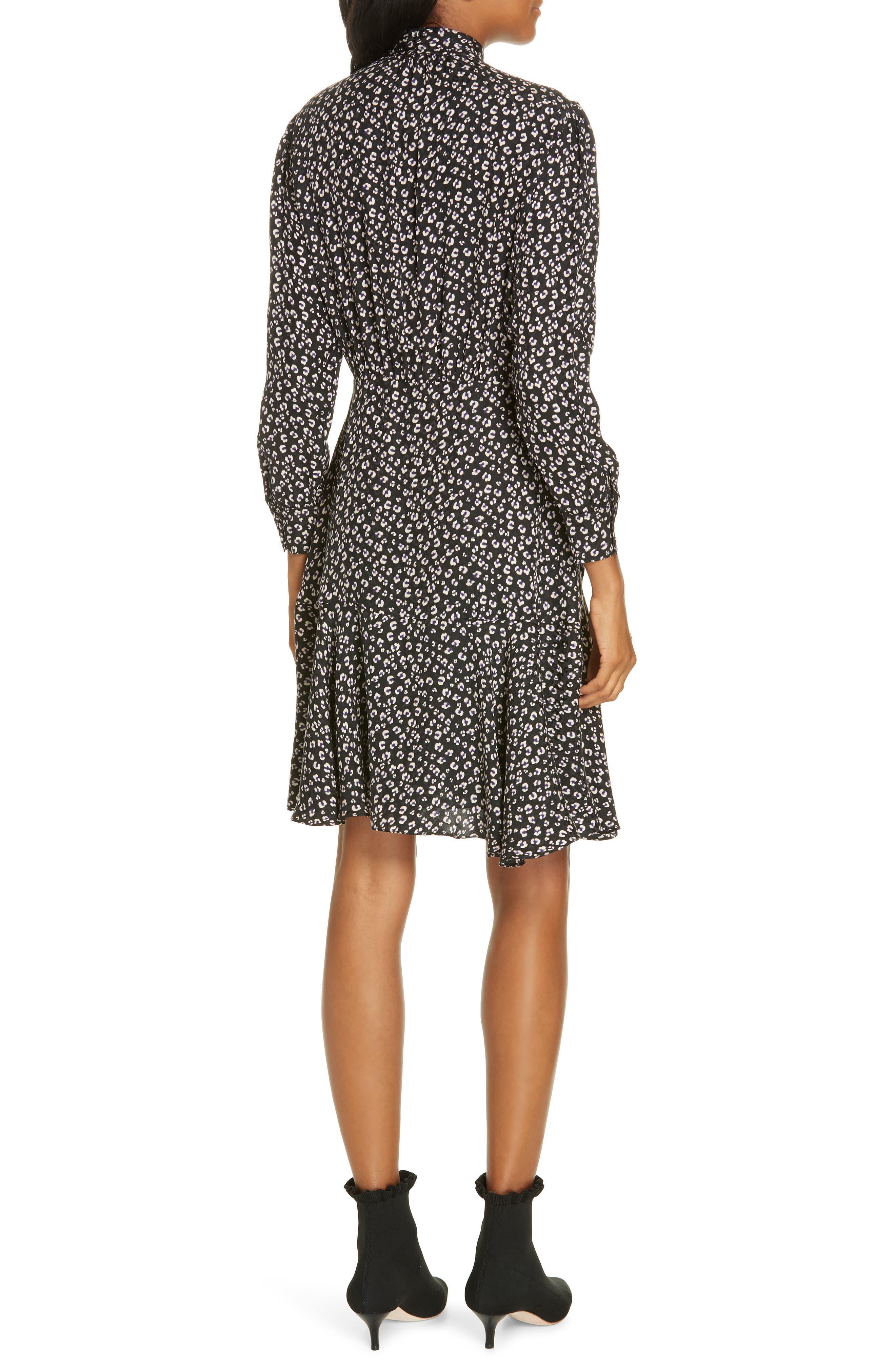 Cheetah Print Silk Dress,                             Alternate thumbnail 2, color,                             BLACK COMBO