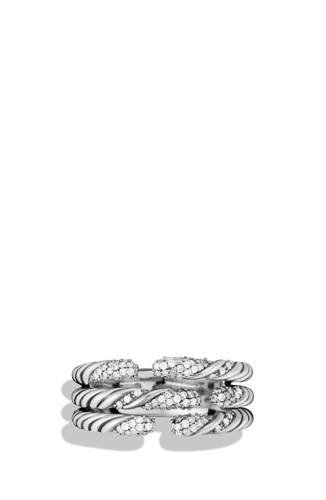 'Willow' Three-Row Ring with Diamonds,                             Alternate thumbnail 3, color,