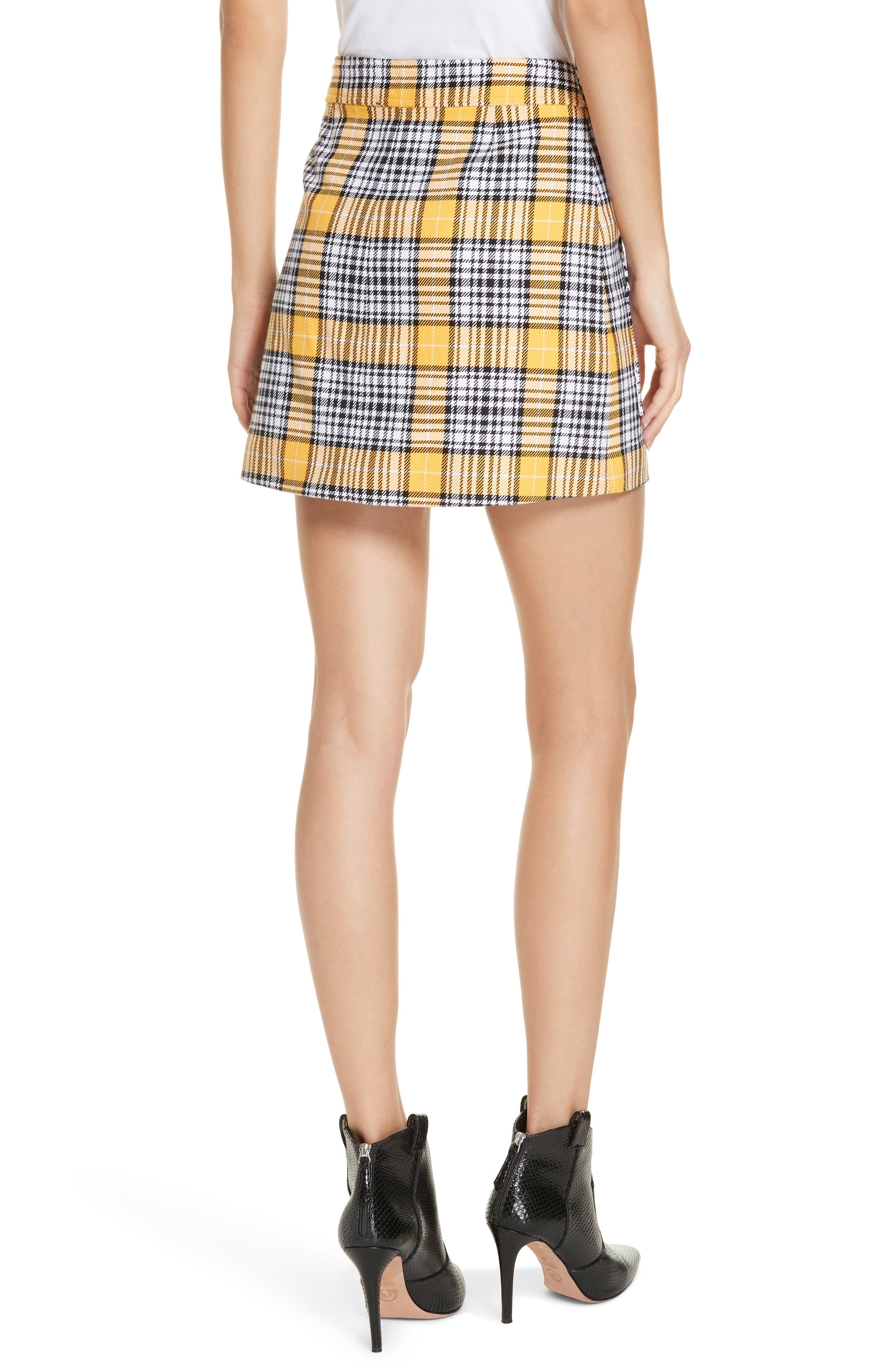 Monroe Plaid Miniskirt,                             Alternate thumbnail 2, color,                             YELLOW