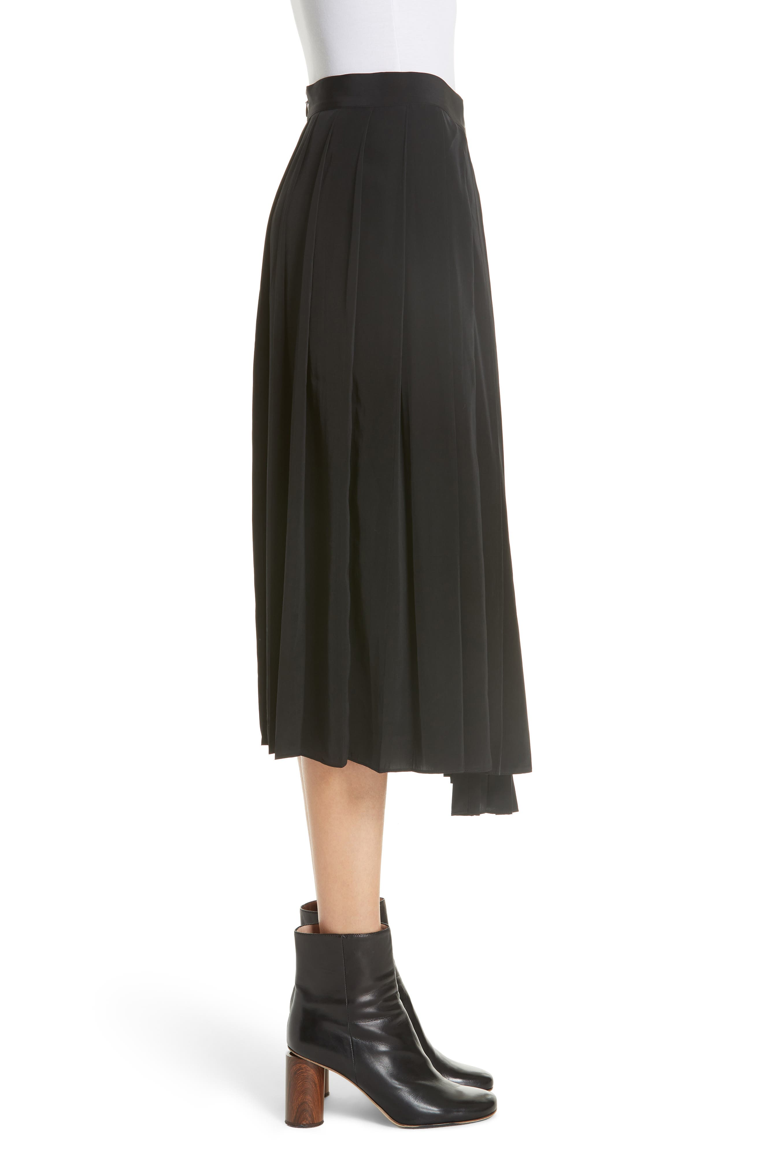 Asymmetrical Pleated Midi Skirt,                             Alternate thumbnail 3, color,                             BLACK