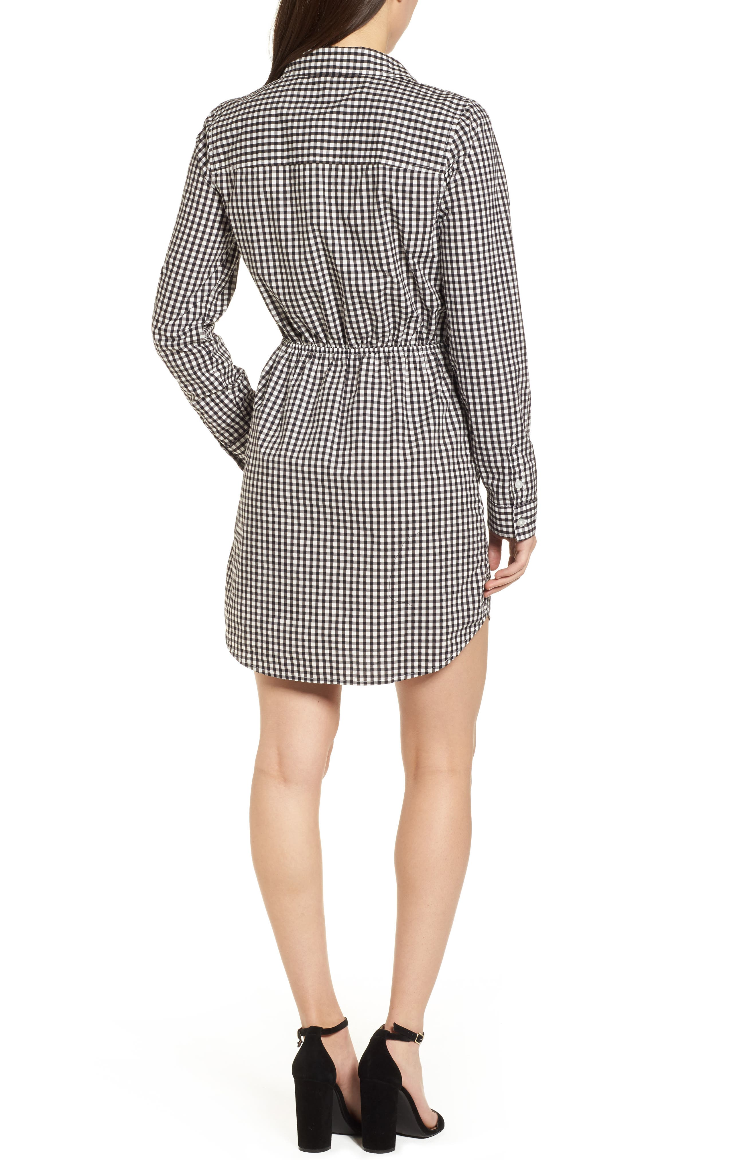 Tie Front Gingham Shirtdress,                             Alternate thumbnail 2, color,                             011