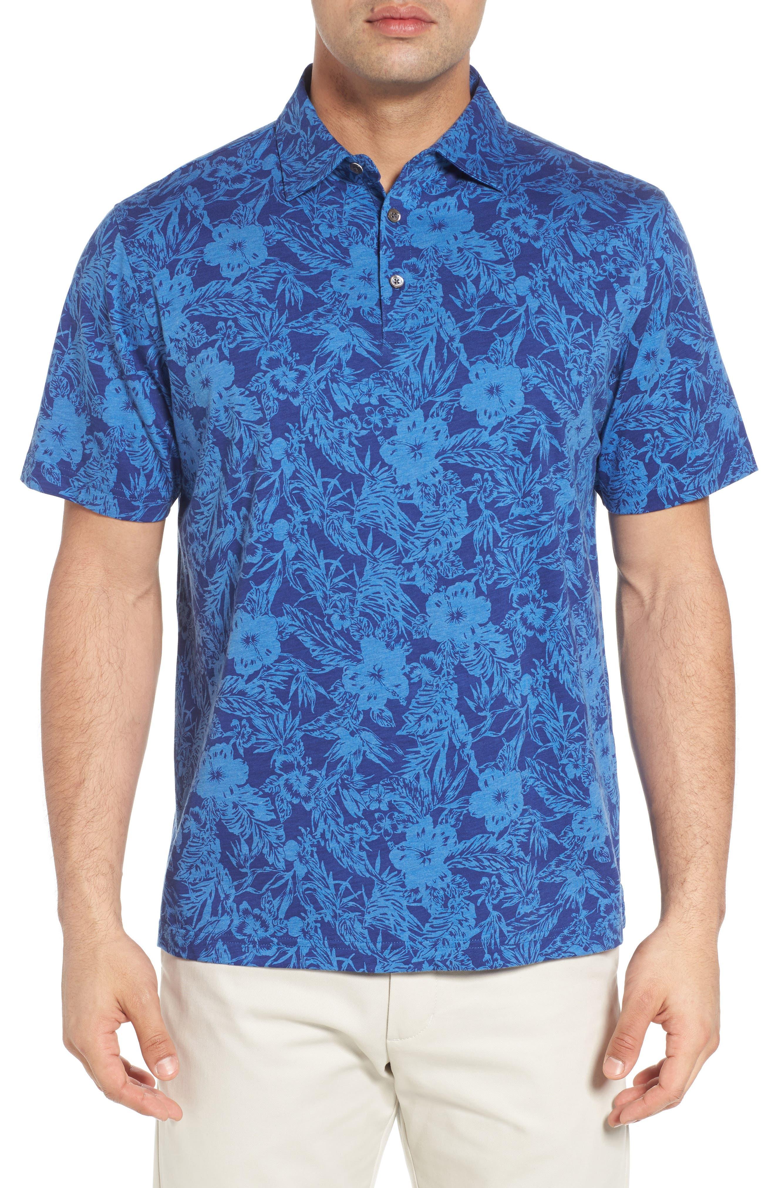 Crown Floral Cotton & Silk Polo Shirt,                             Main thumbnail 1, color,                             400