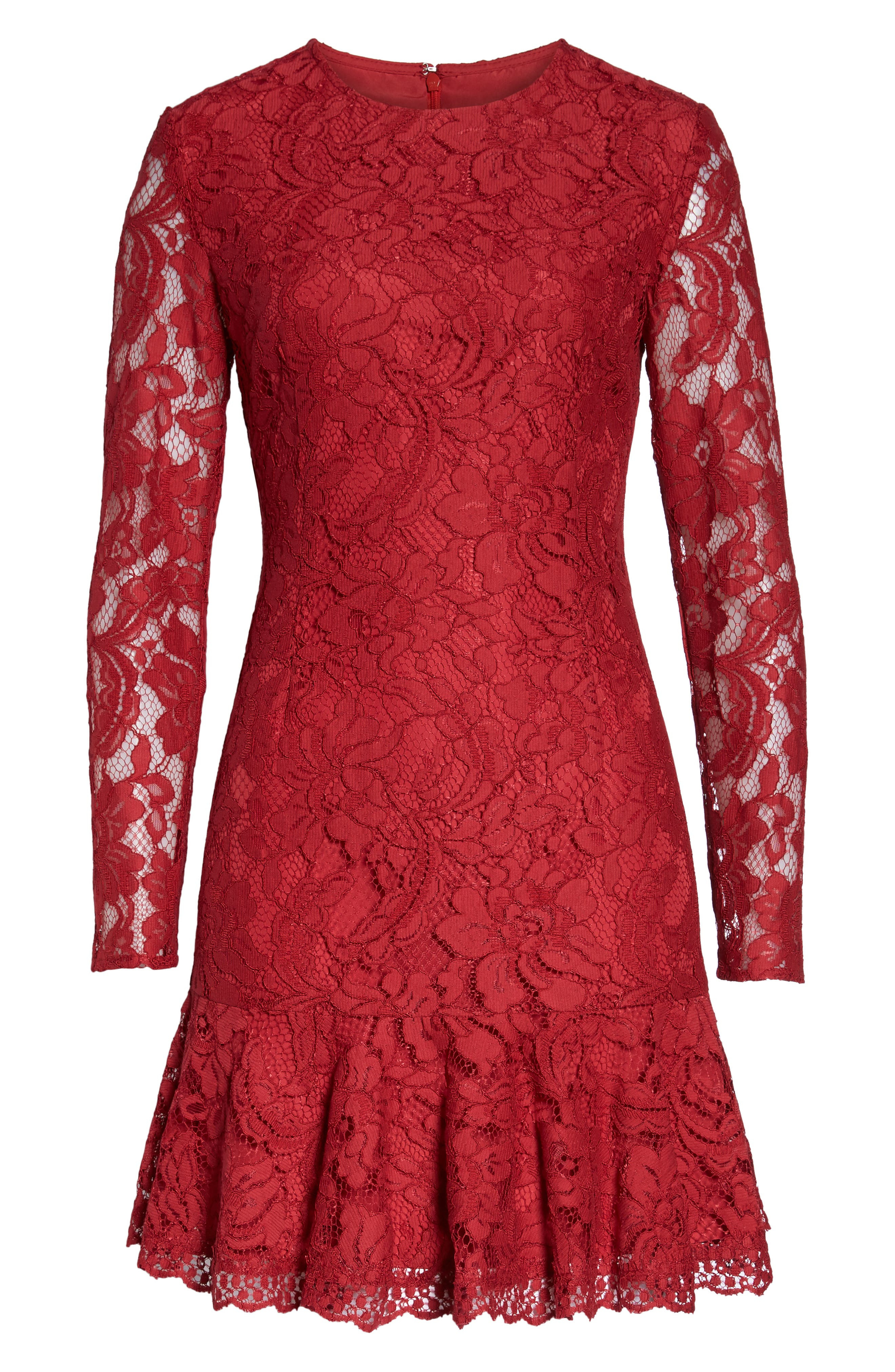Lace Fit & Flare Dress,                             Alternate thumbnail 7, color,                             LIPSTICK RED