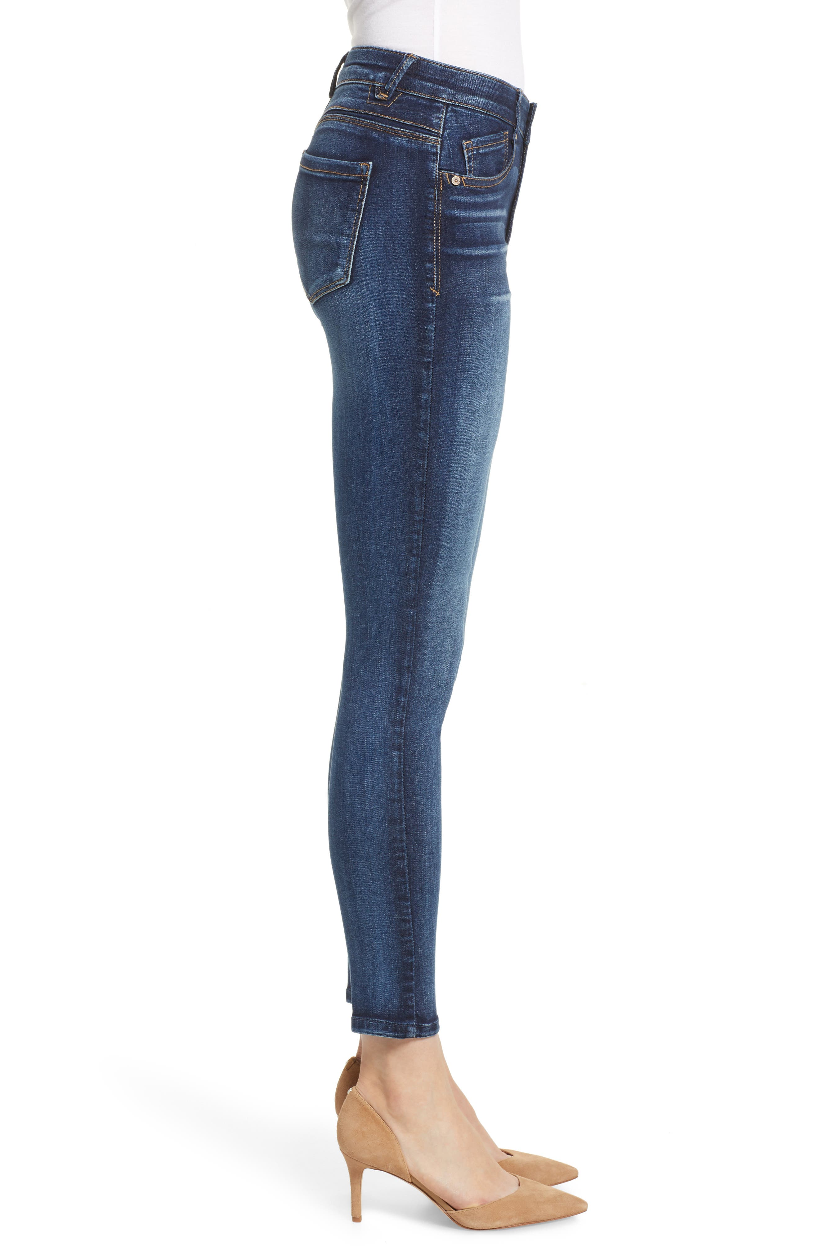 Luxe Touch High Waist Skinny Ankle Jeans,                             Alternate thumbnail 3, color,                             BLUE