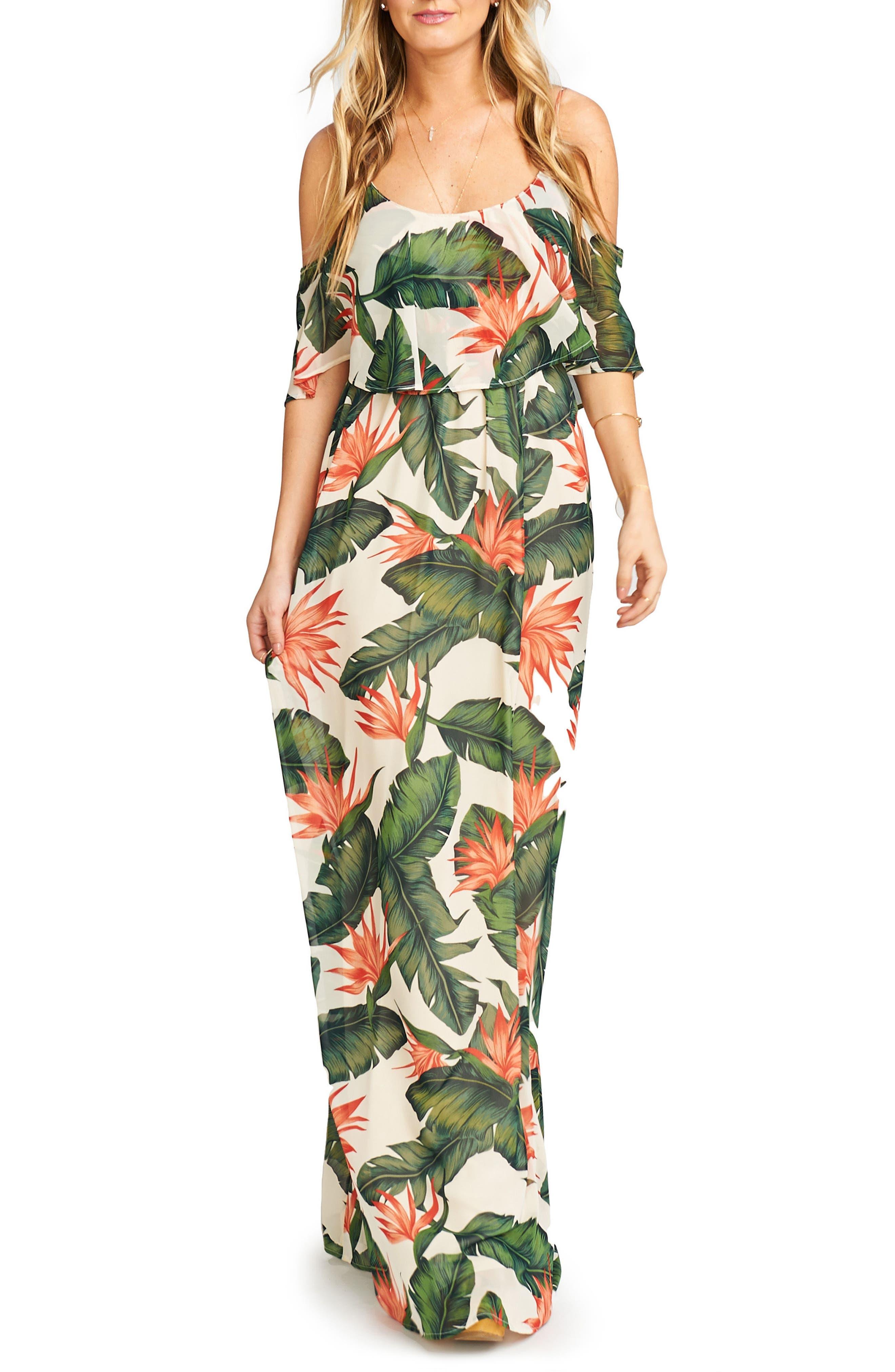 Caitlin Cold Shoulder Chiffon Gown,                             Main thumbnail 14, color,
