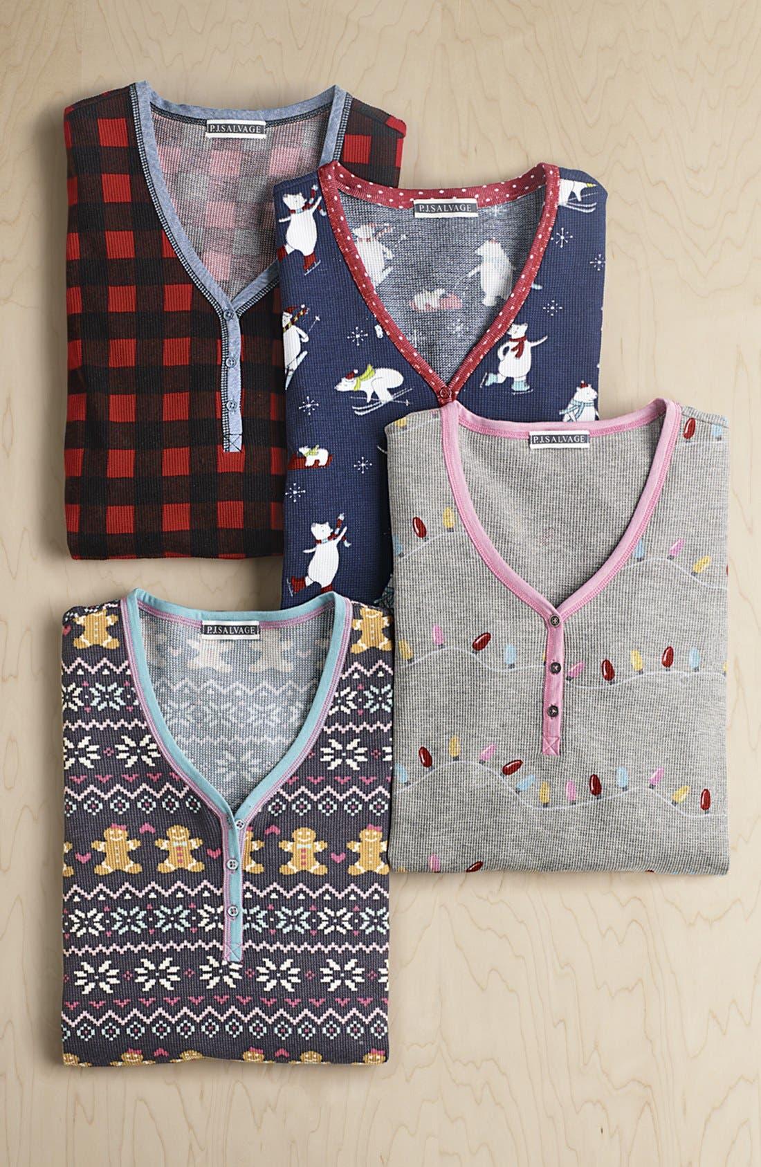 Thermal Knit Sleep Shirt,                             Alternate thumbnail 6, color,                             011