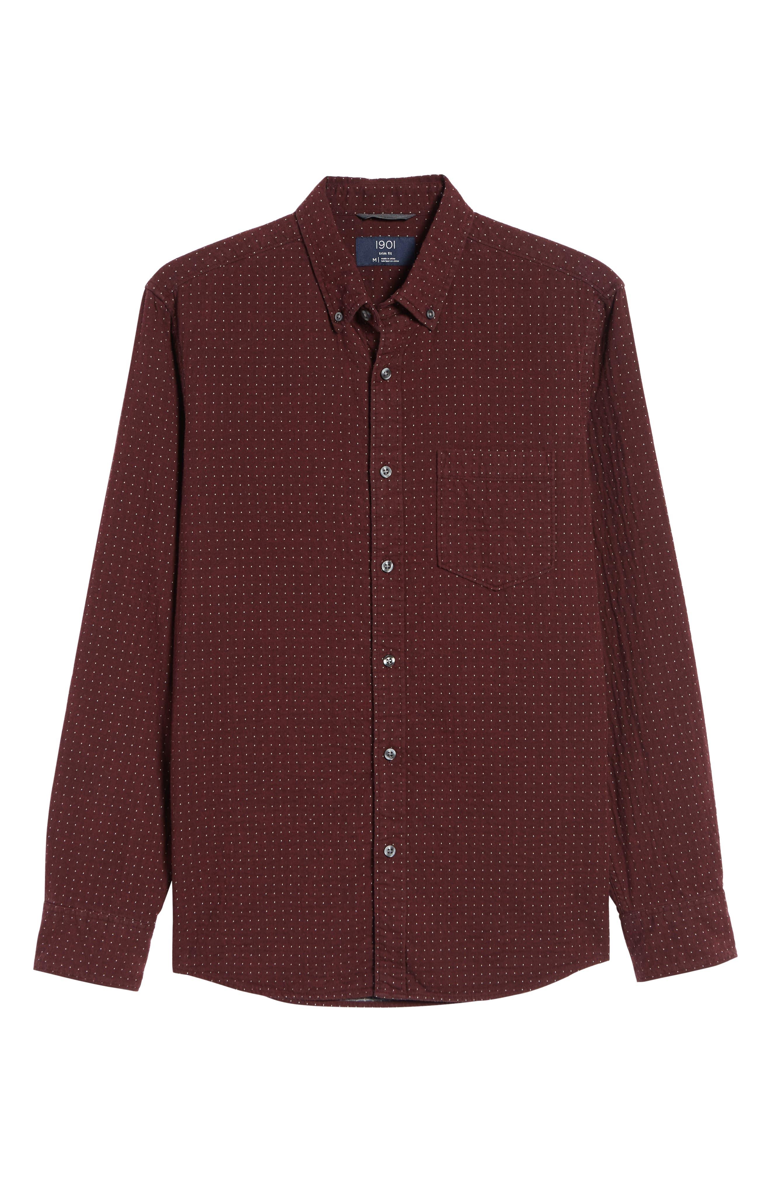 Trim Fit Dot Flannel Sport Shirt,                             Alternate thumbnail 5, color,                             BURGUNDY ROYALE GREY DUOFOLD