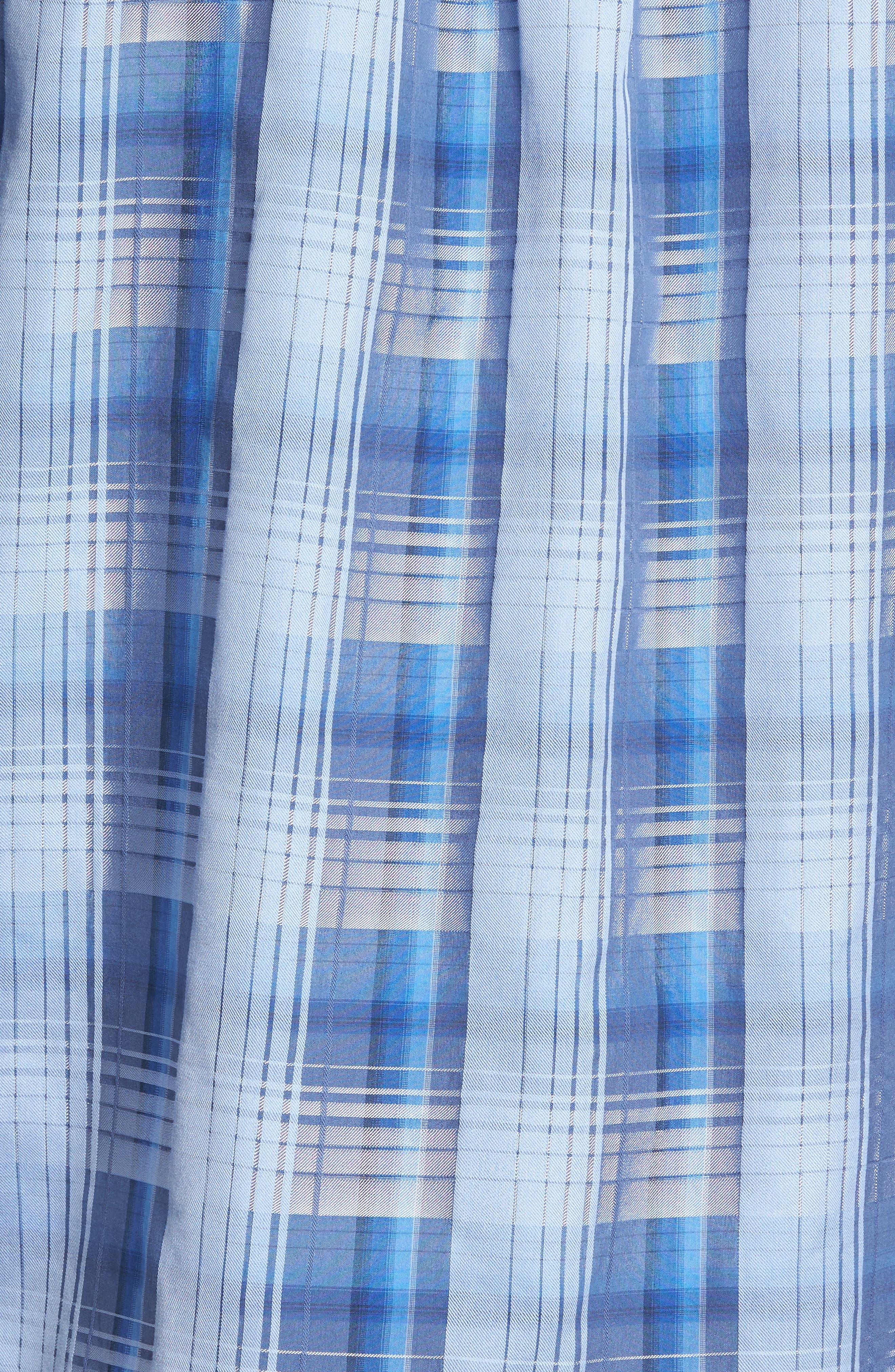 Shadow Ridge Check Cotton & Silk Sport Shirt,                             Alternate thumbnail 5, color,