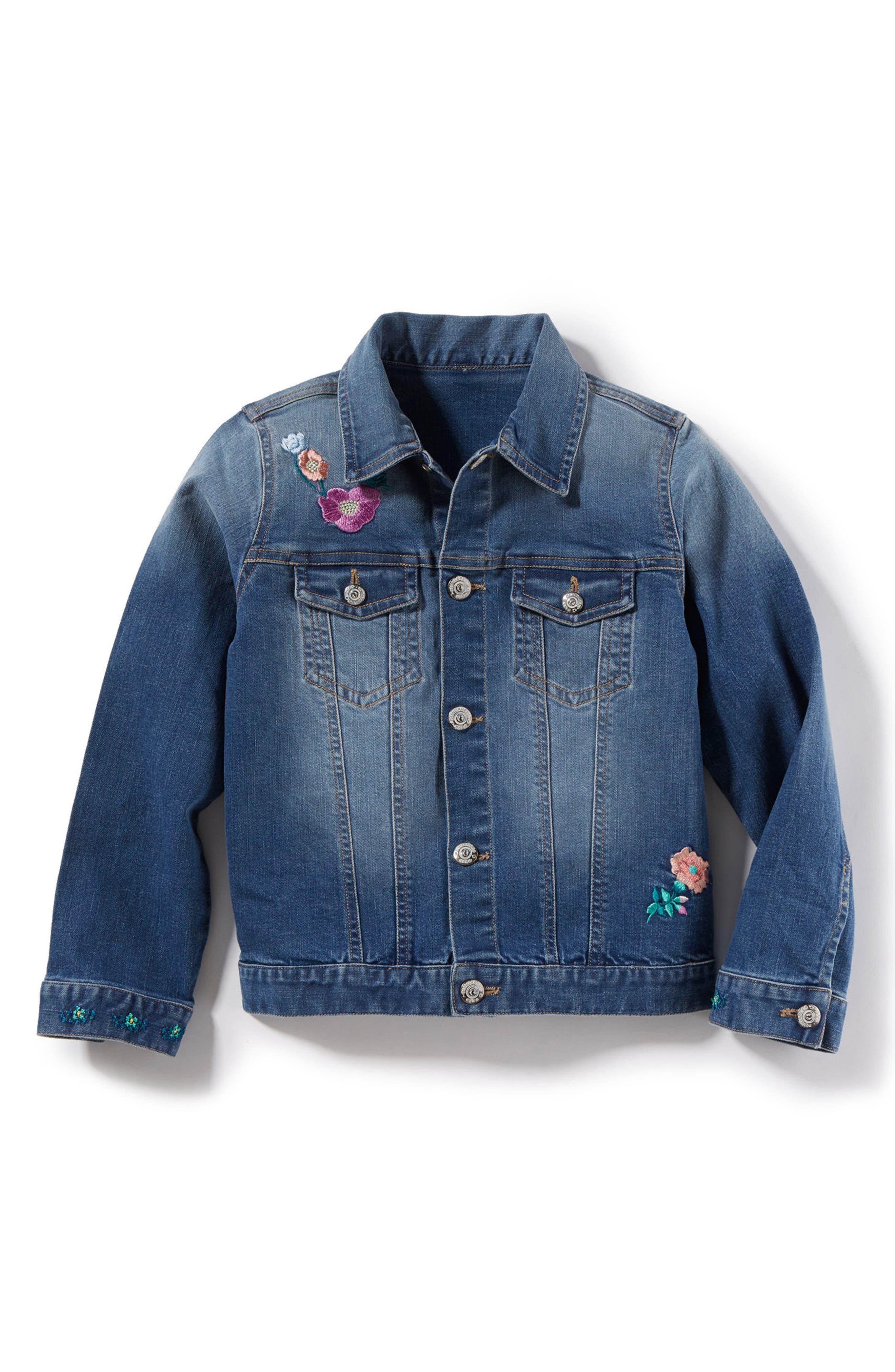 Embroidered Denim Jacket,                         Main,                         color, 416