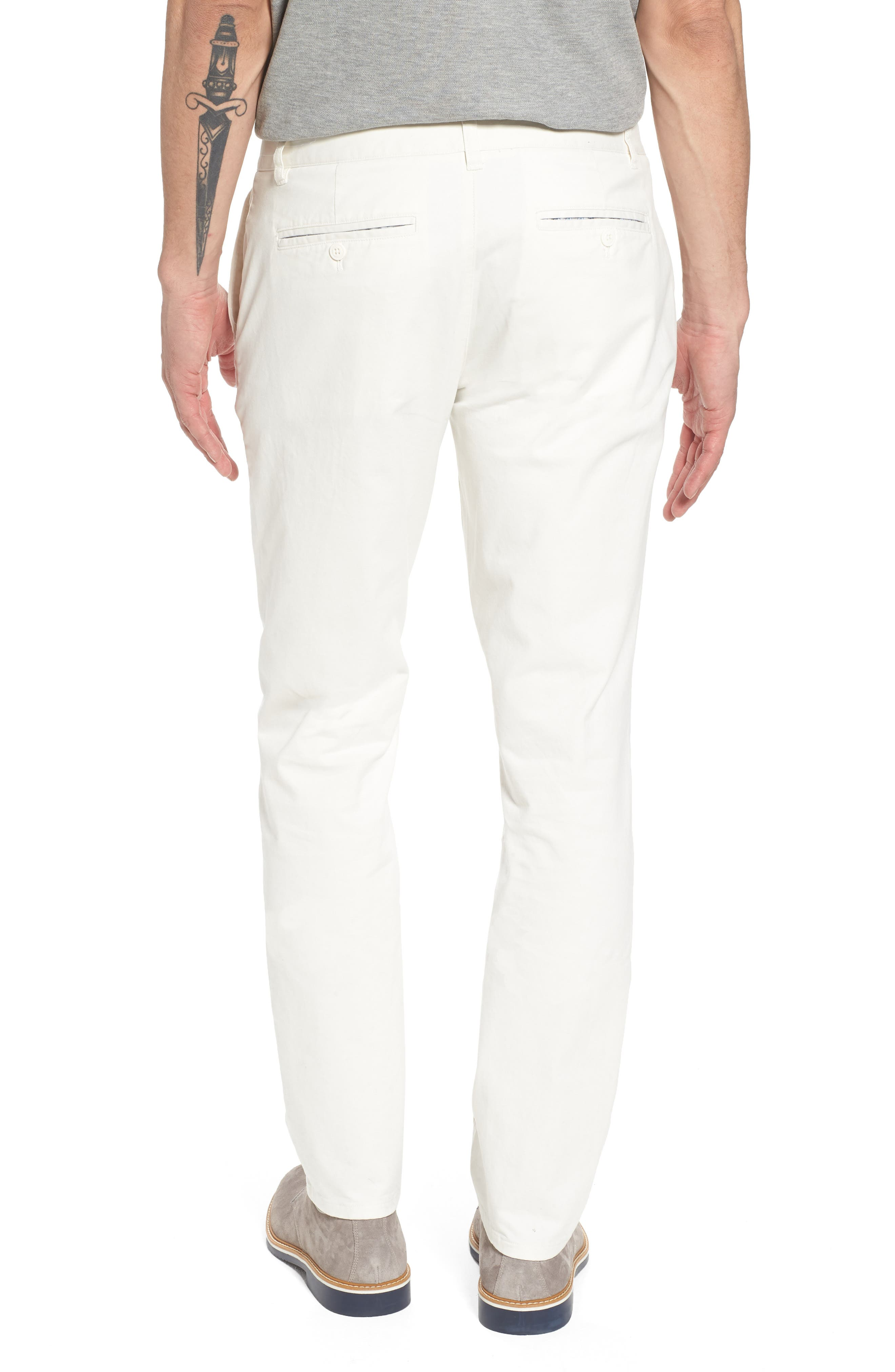 Tailored Fit Washed Stretch Cotton Chinos,                             Alternate thumbnail 2, color,                             100
