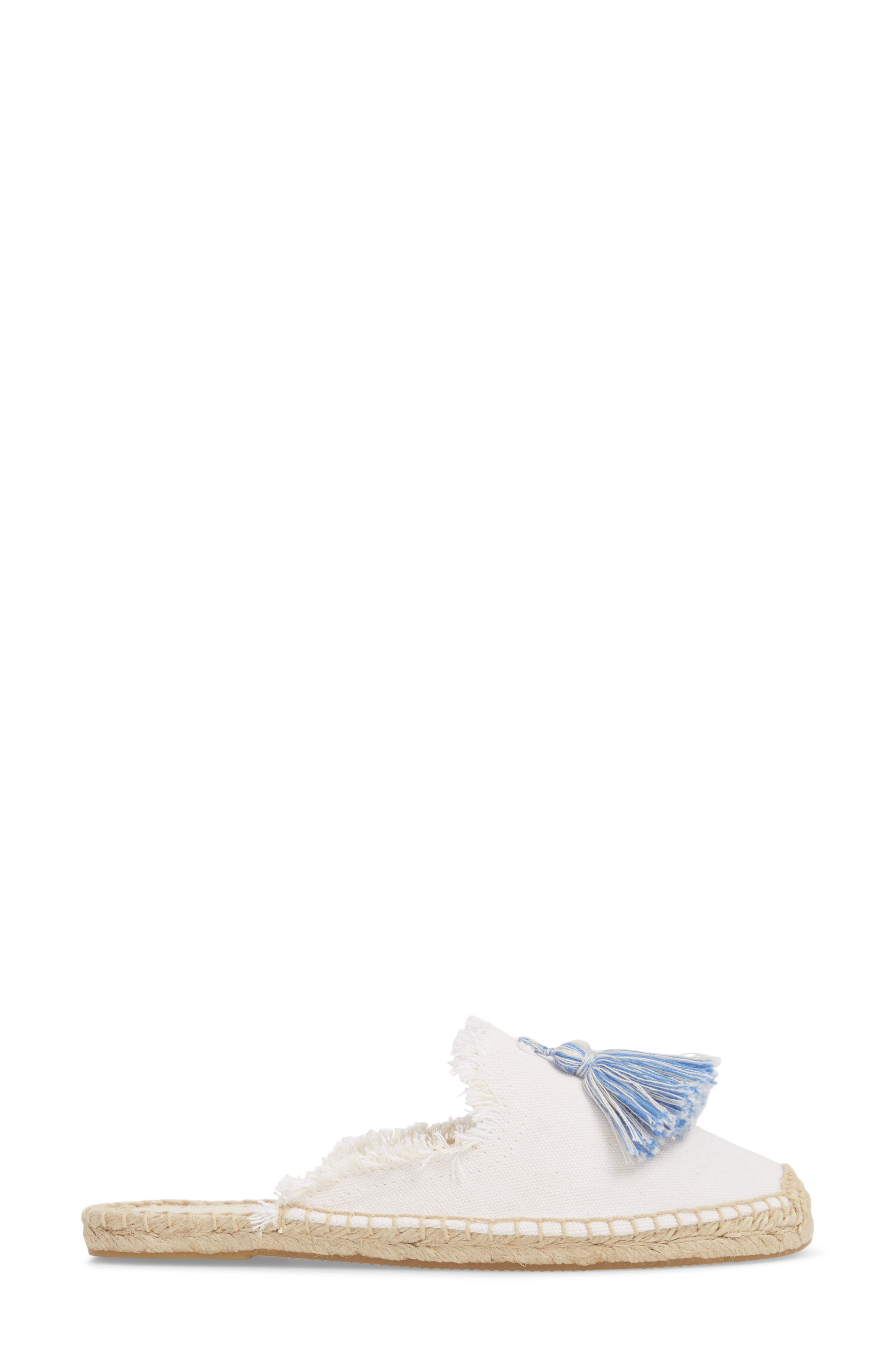 Frayed Tassel Espadrille Loafer Mule,                             Alternate thumbnail 3, color,                             WHITE