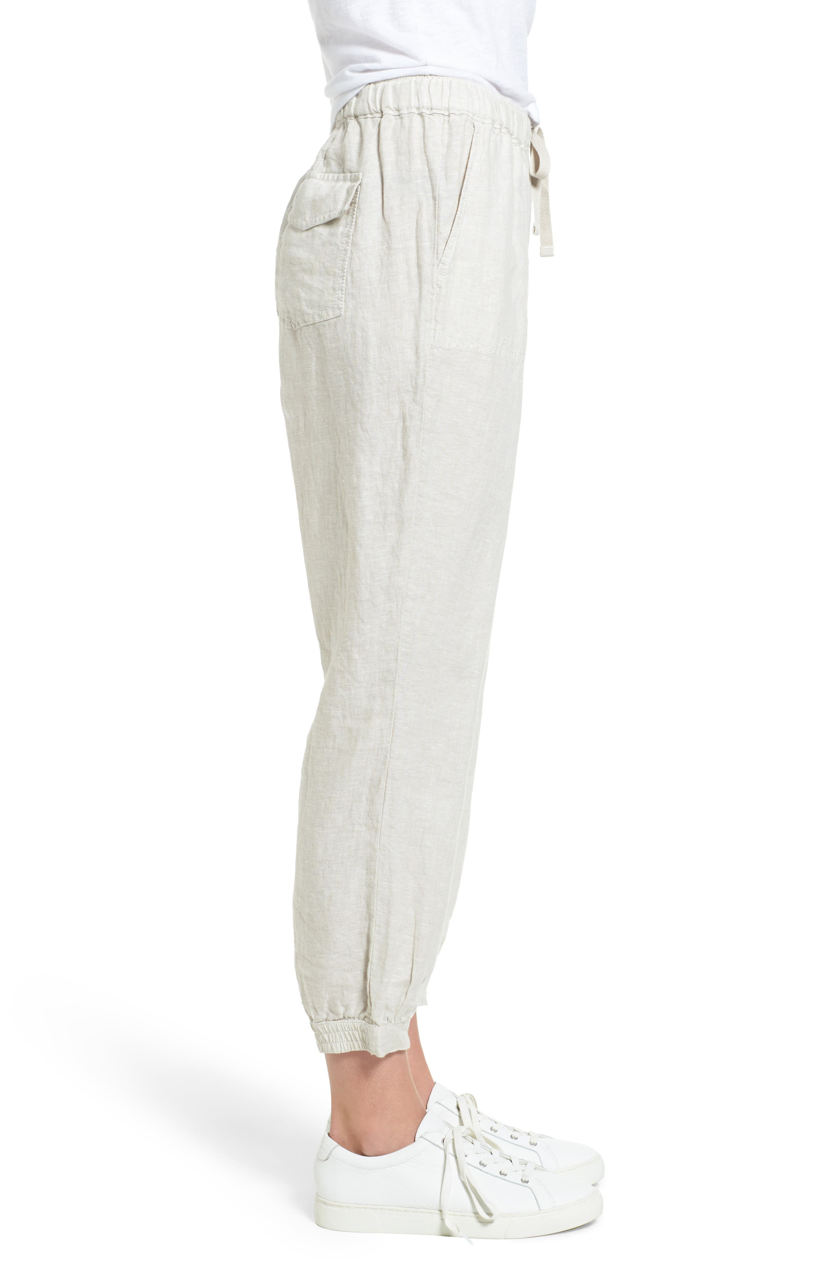 Crop Linen Joggers,                             Alternate thumbnail 3, color,                             260