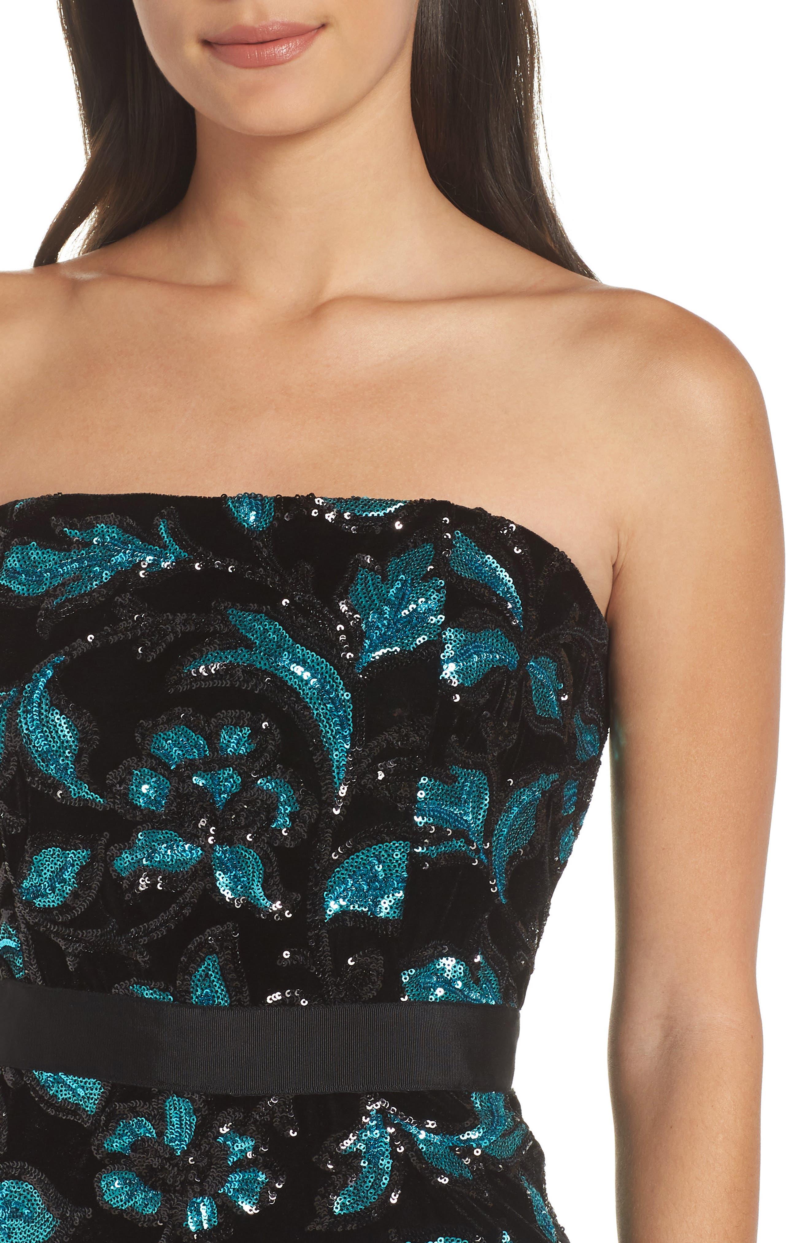 Strapless Sequin Velvet Sheath Dress,                             Alternate thumbnail 4, color,                             BLACK/ TEAL