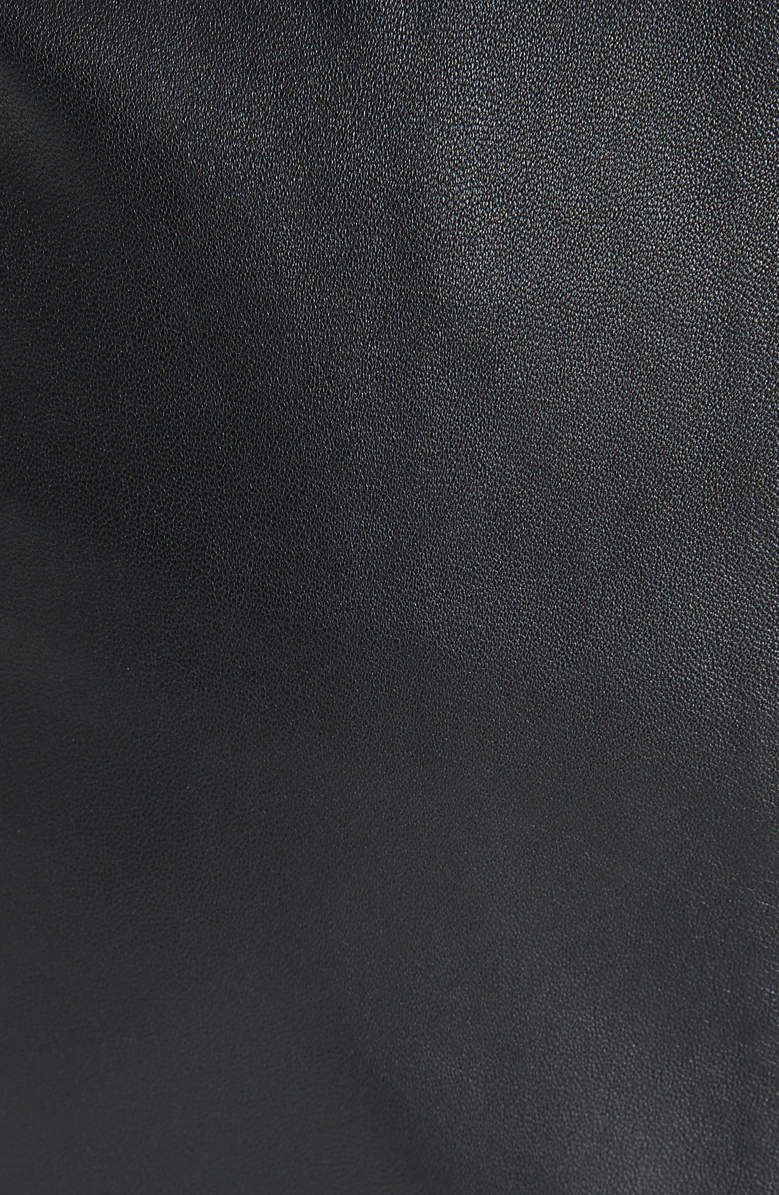 Heidi Leather Skirt,                             Alternate thumbnail 5, color,                             BLACK