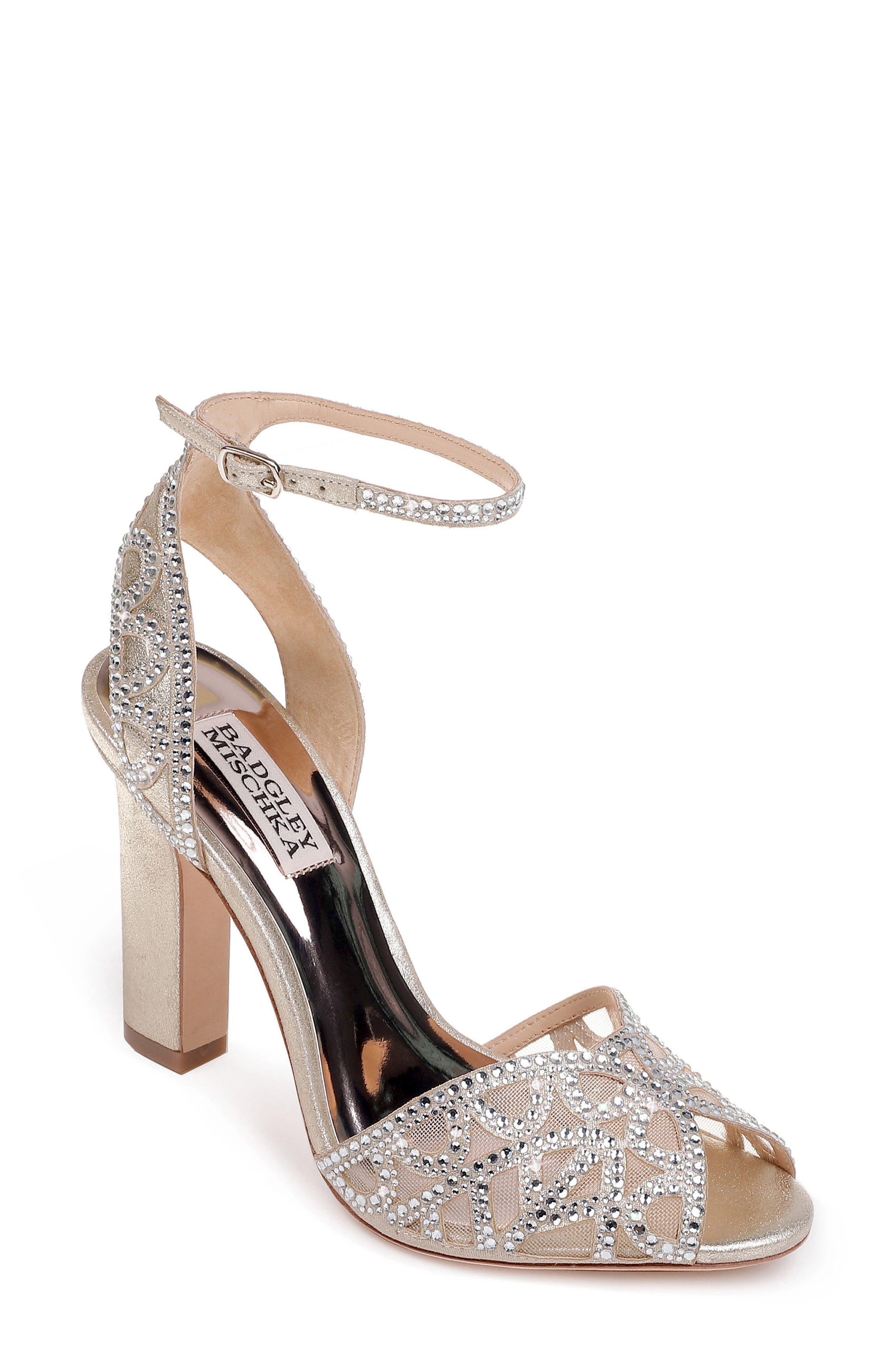 Badgley Mischka Hart Crystal Embellished Sandal,                             Main thumbnail 1, color,                             040