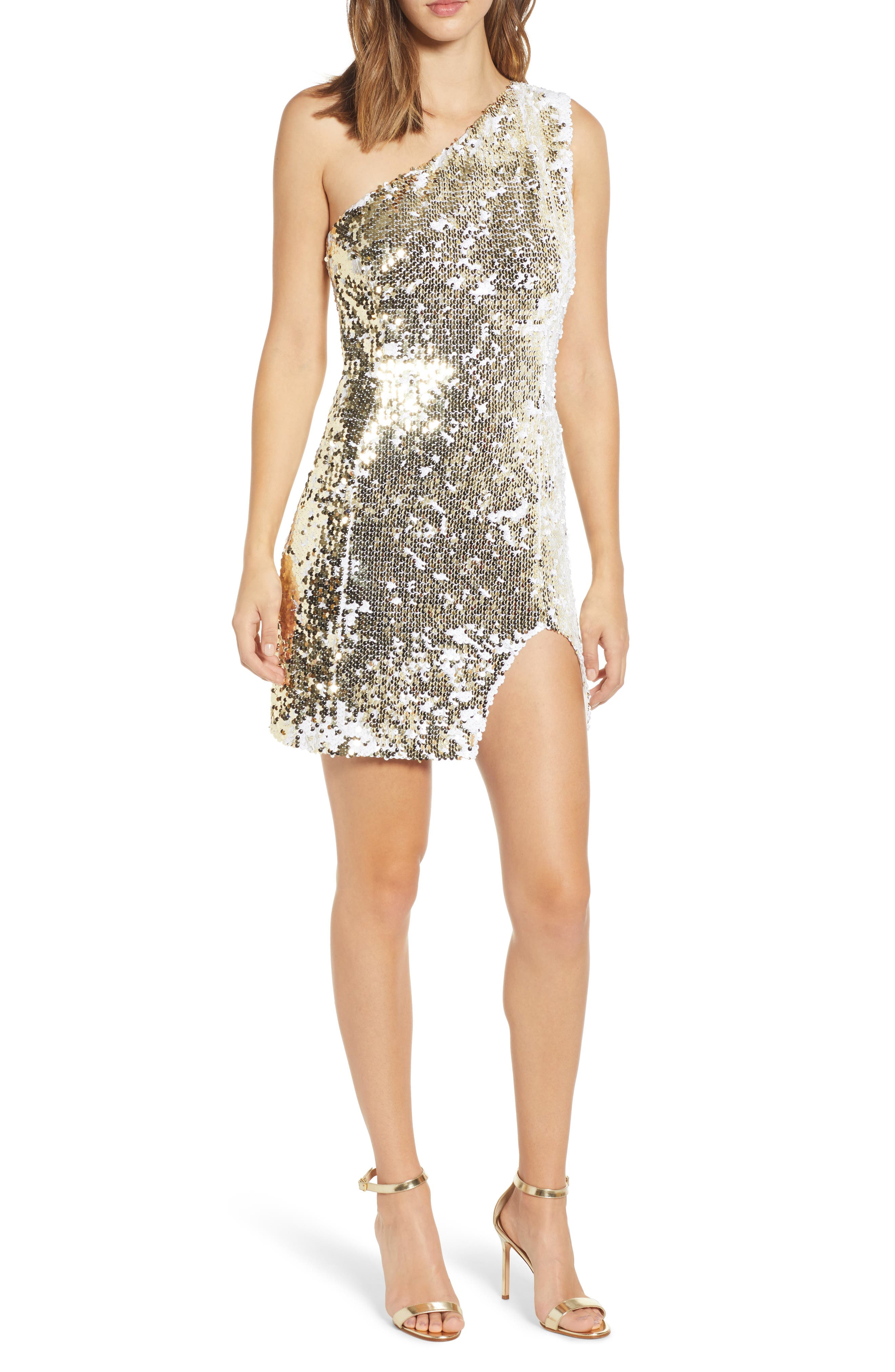 Sienna Flip Sequin One-Shoulder Minidress,                             Main thumbnail 1, color,                             WHITE/ GOLD