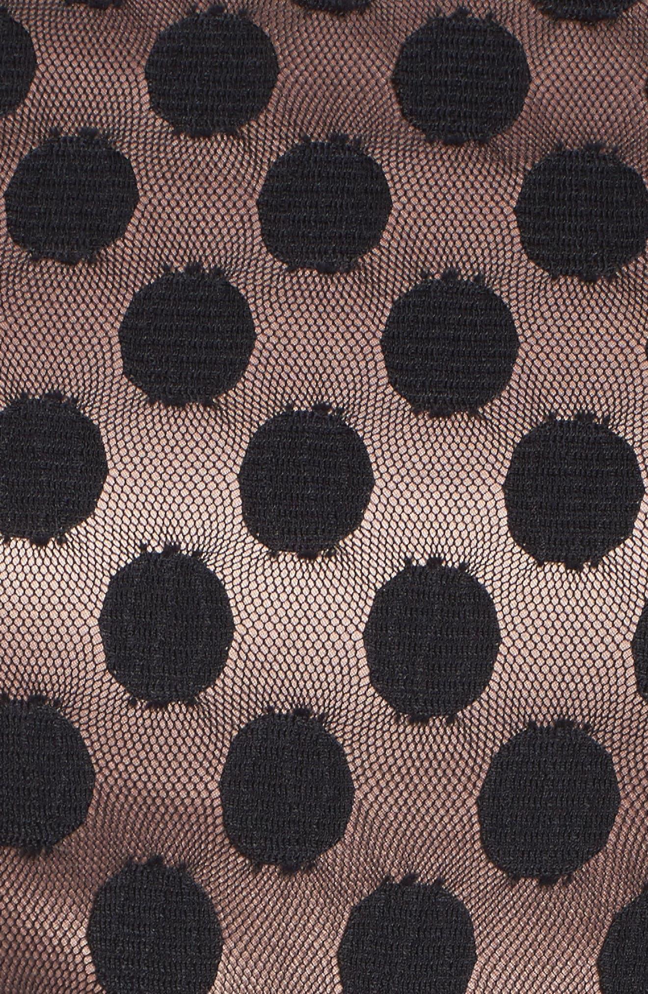 Dot Mesh Bodice Fit & Flare Dress,                             Alternate thumbnail 12, color,
