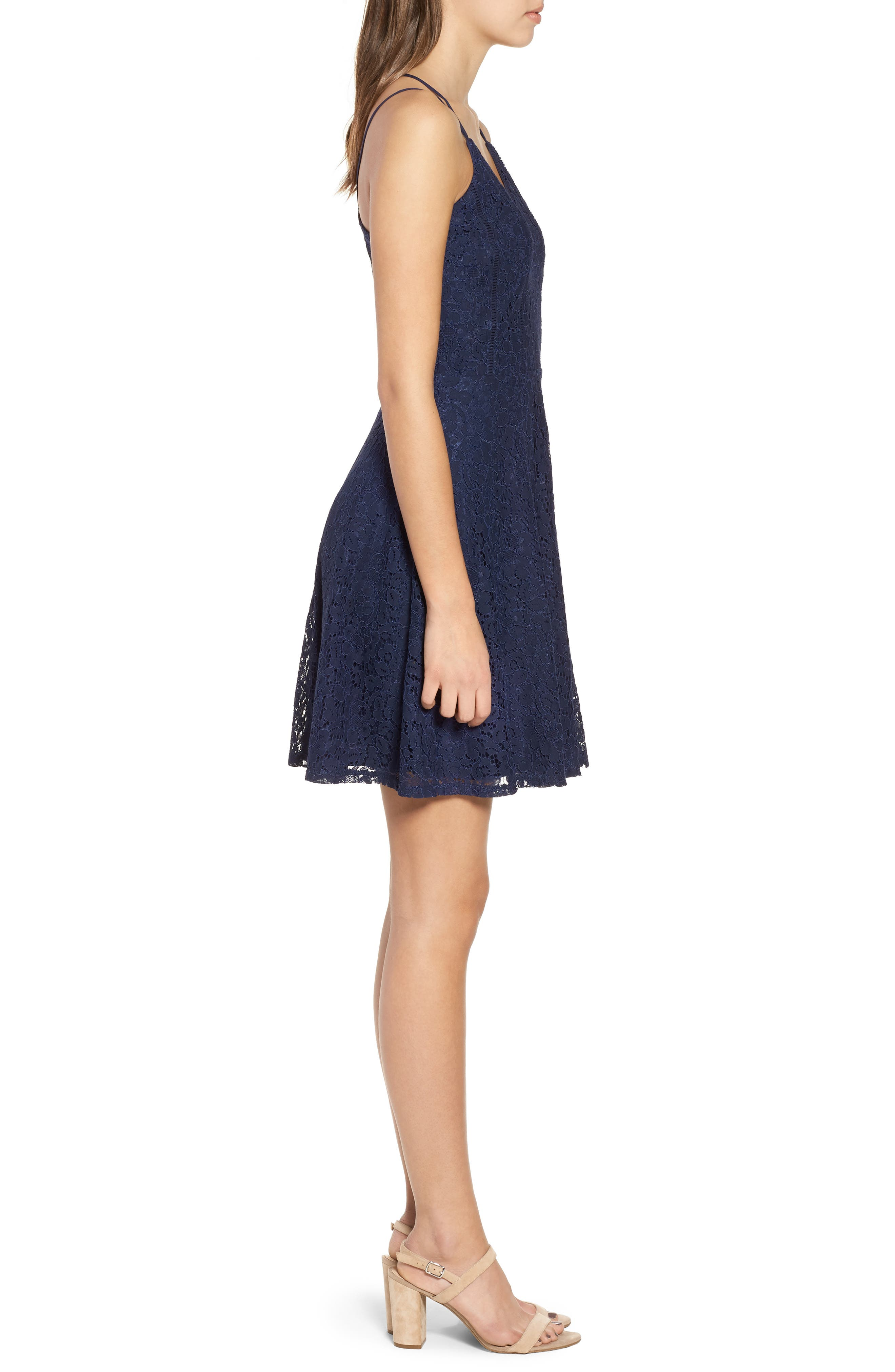 Strappy Lace Fit & Flare Dress,                             Alternate thumbnail 3, color,                             400