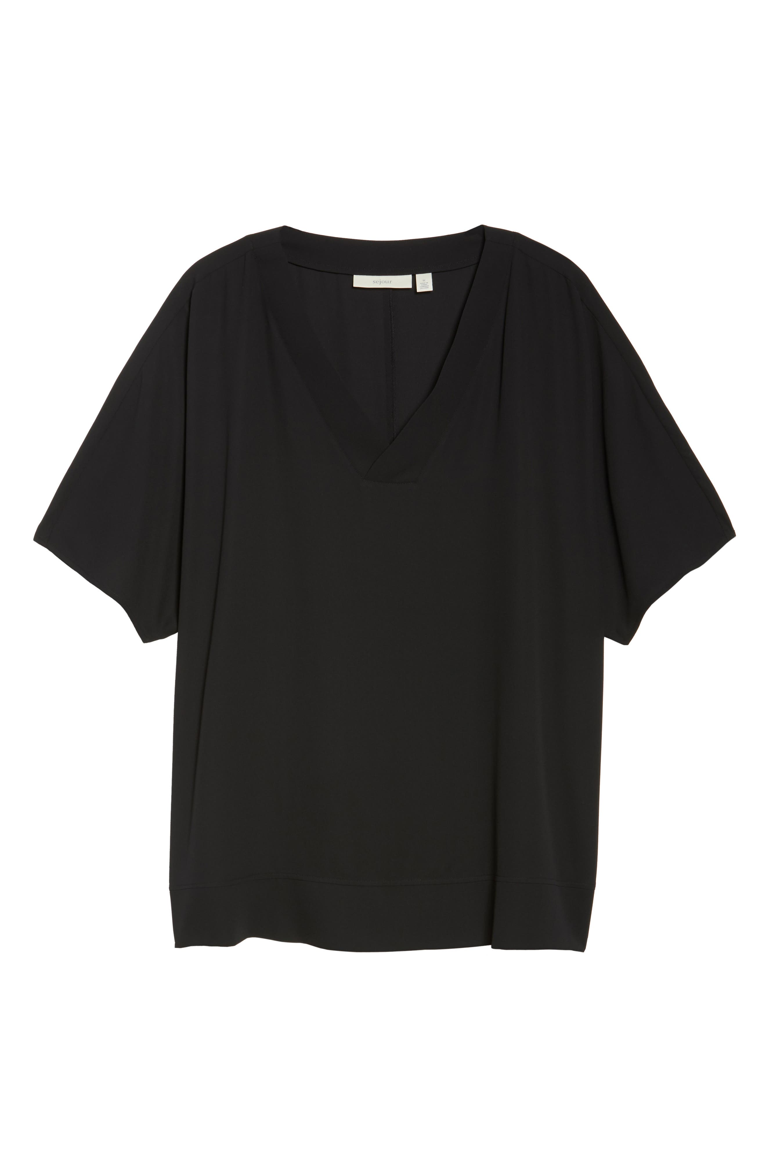 V-Neck Top,                             Alternate thumbnail 6, color,                             001