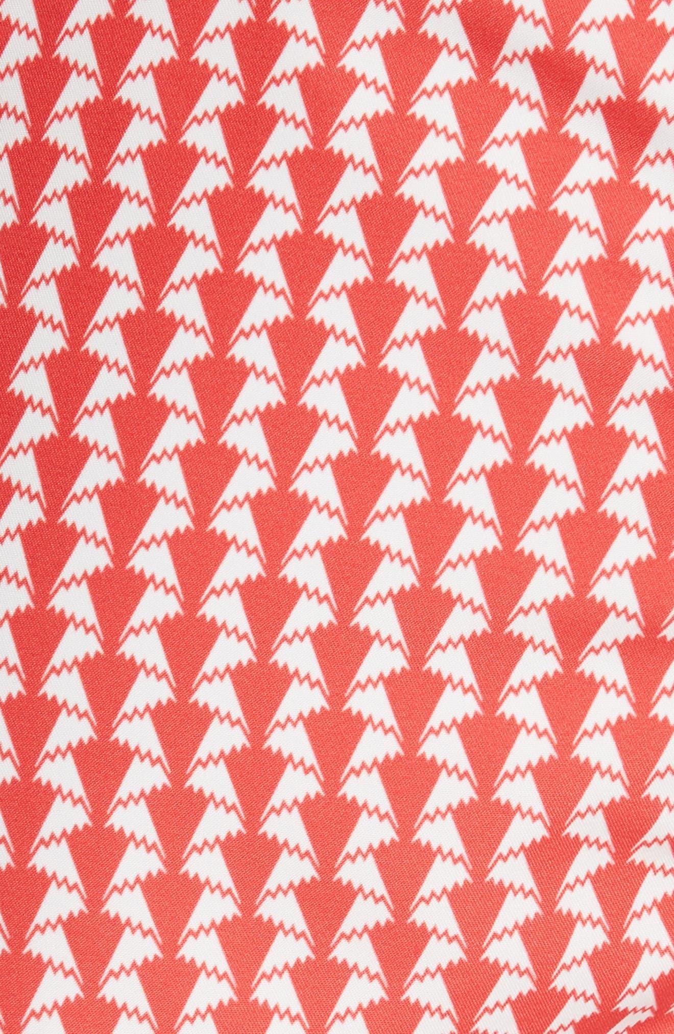 Charles Paper Fold Print Swim Trunks,                             Alternate thumbnail 5, color,                             FLAME