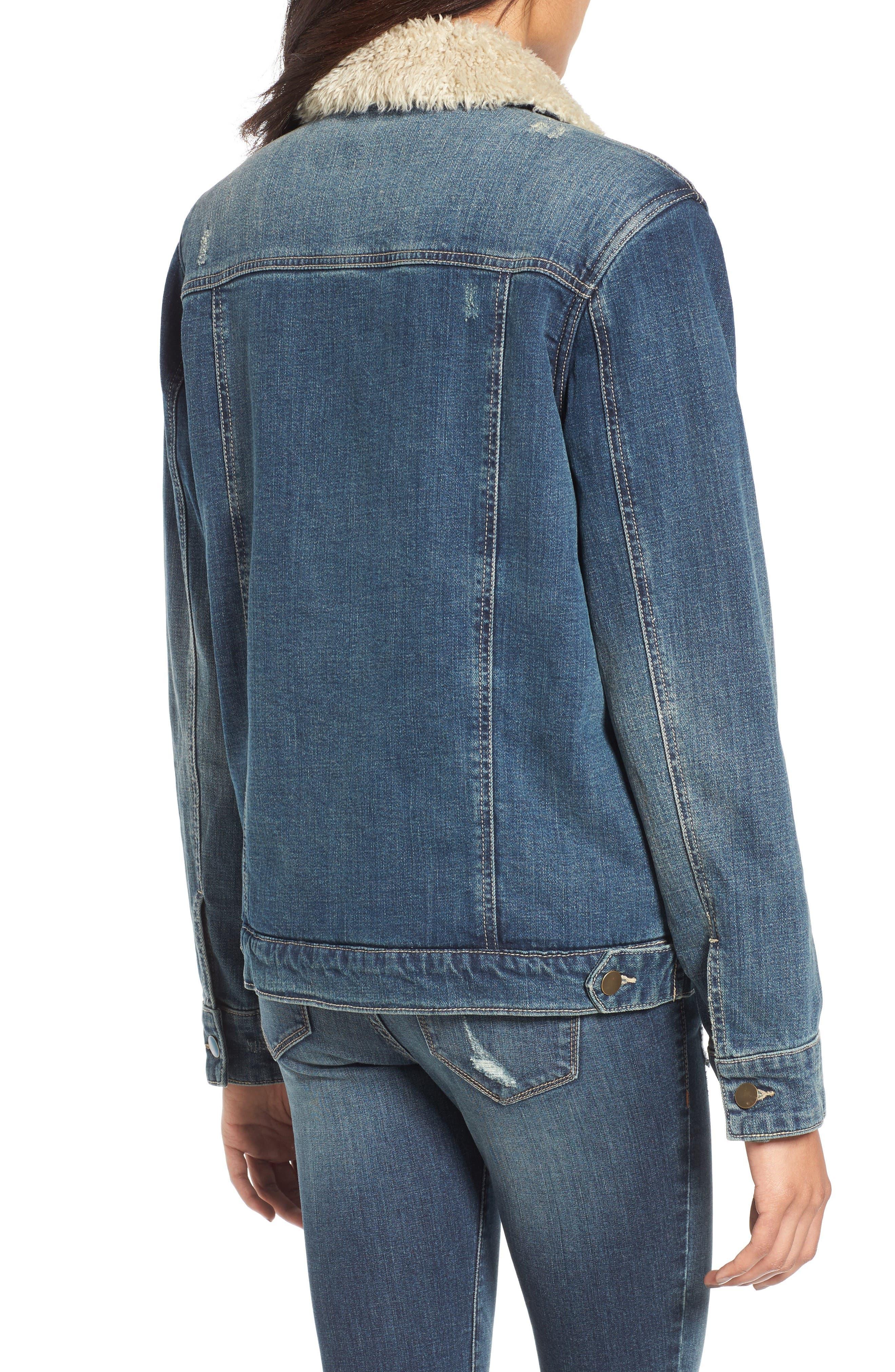 Faux Shearling Collar Denim Jacket,                             Alternate thumbnail 2, color,                             420