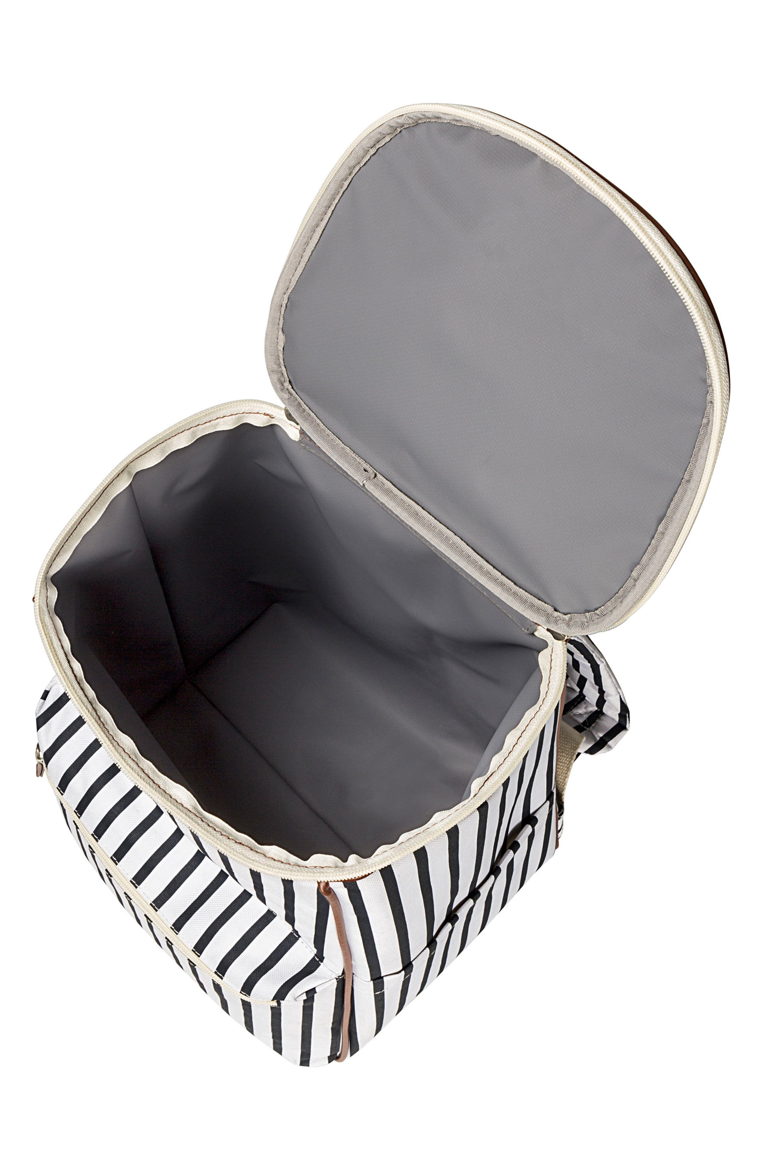 Monogram Stripe Backpack Cooler,                             Alternate thumbnail 3, color,                             BLUE