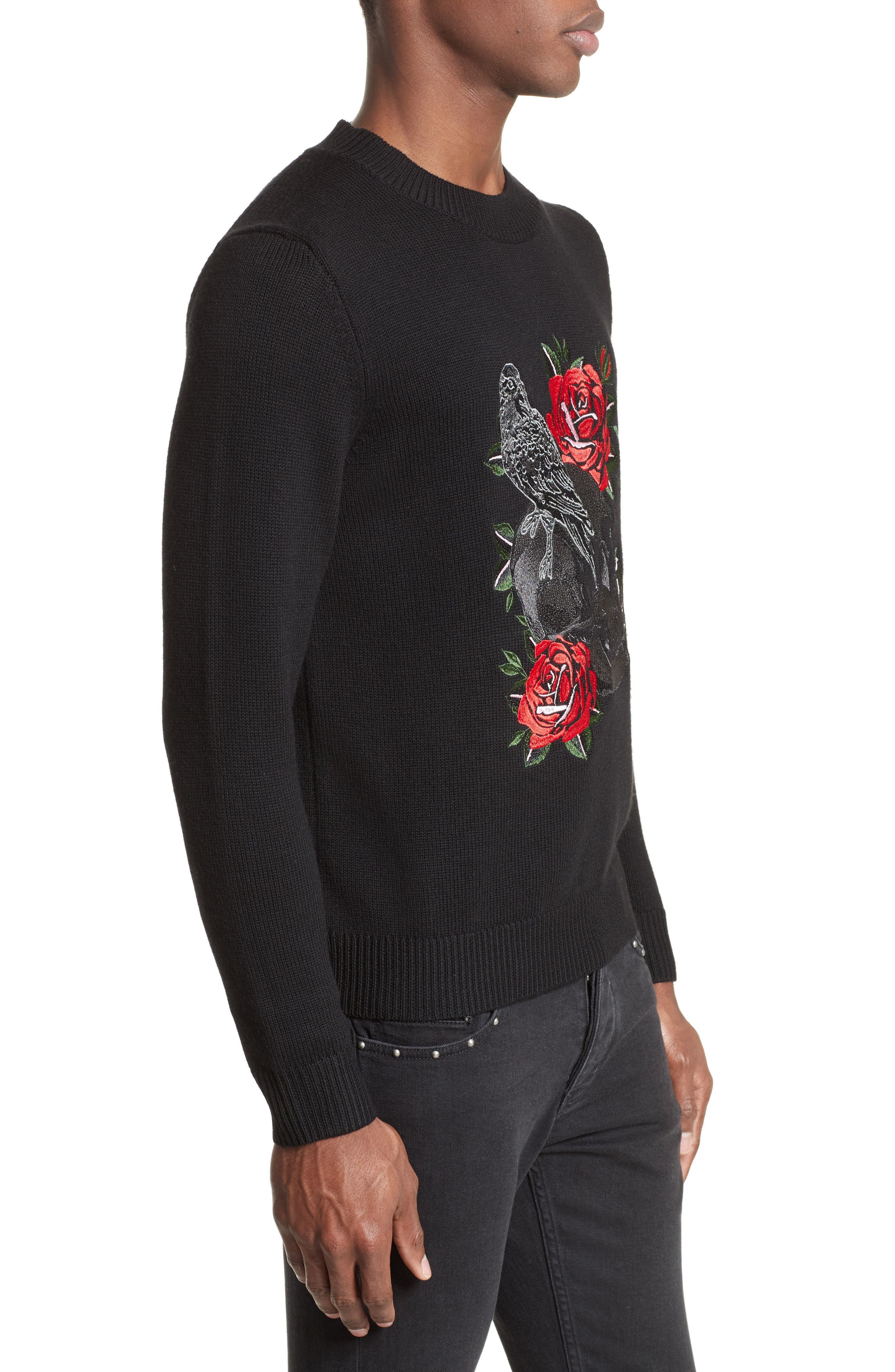 Embroidered Skull Wool Blend Sweater,                             Alternate thumbnail 3, color,                             001