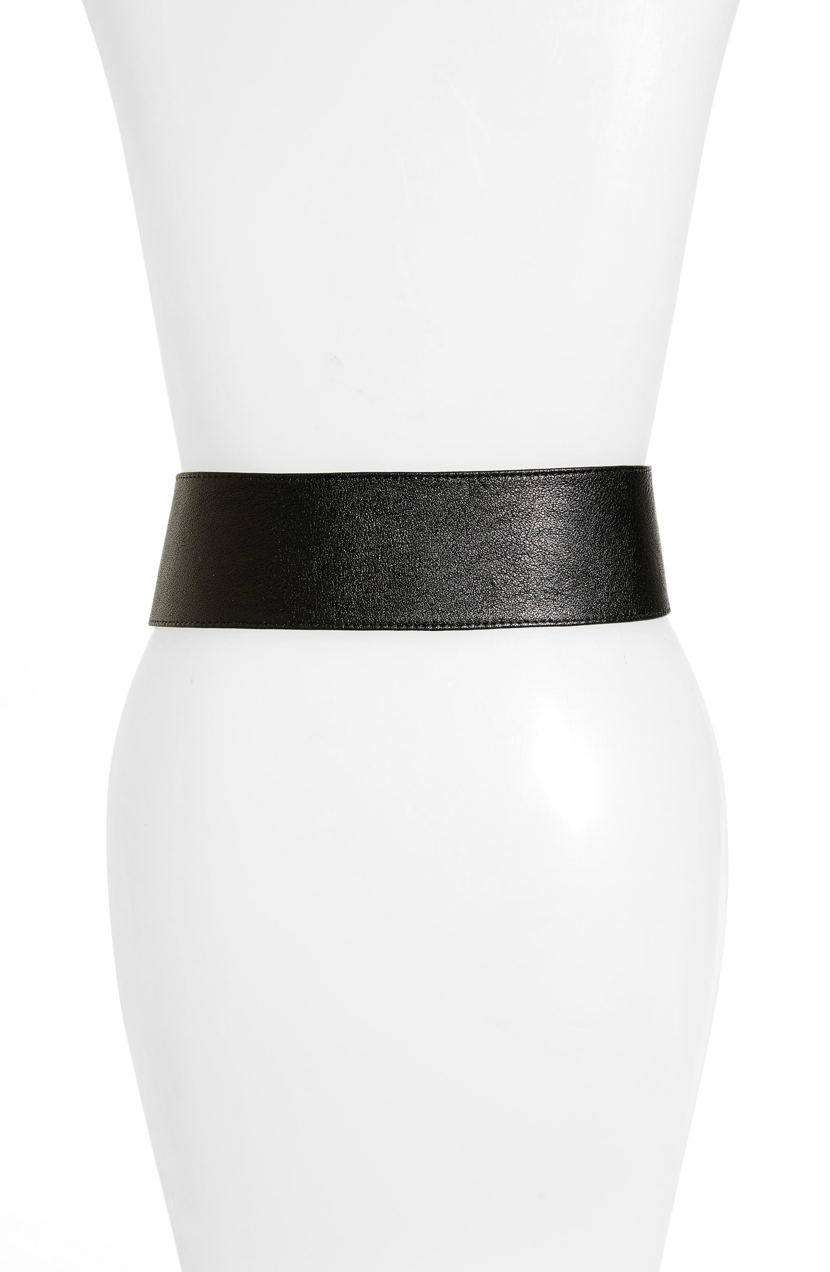 RAINA,                             Vixen Leather Belt,                             Alternate thumbnail 2, color,                             BLACK/ BROWN