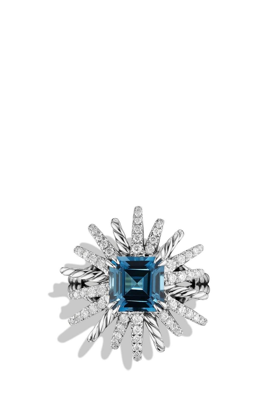 DAVID YURMAN,                             'Starburst' Ring with Diamonds in Silver,                             Alternate thumbnail 3, color,                             402
