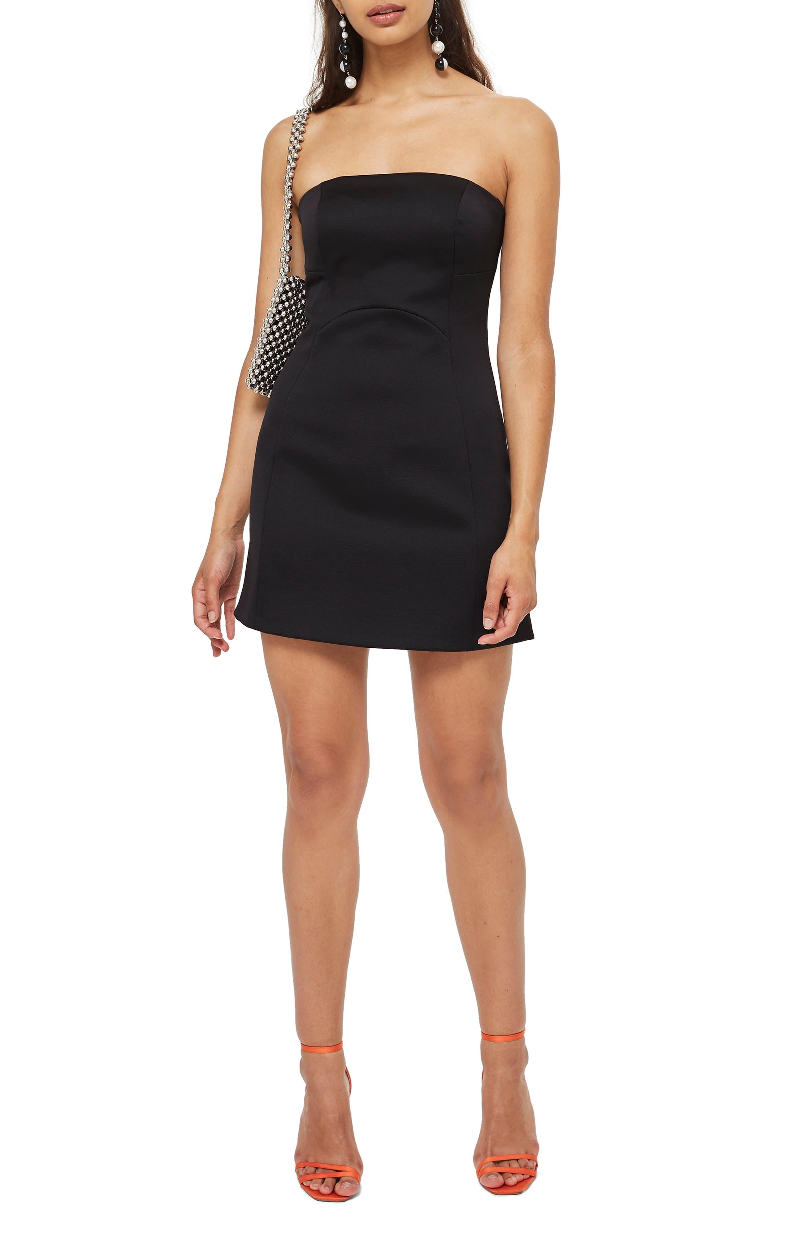 Bonded Crepe Minidress,                             Main thumbnail 1, color,                             BLACK