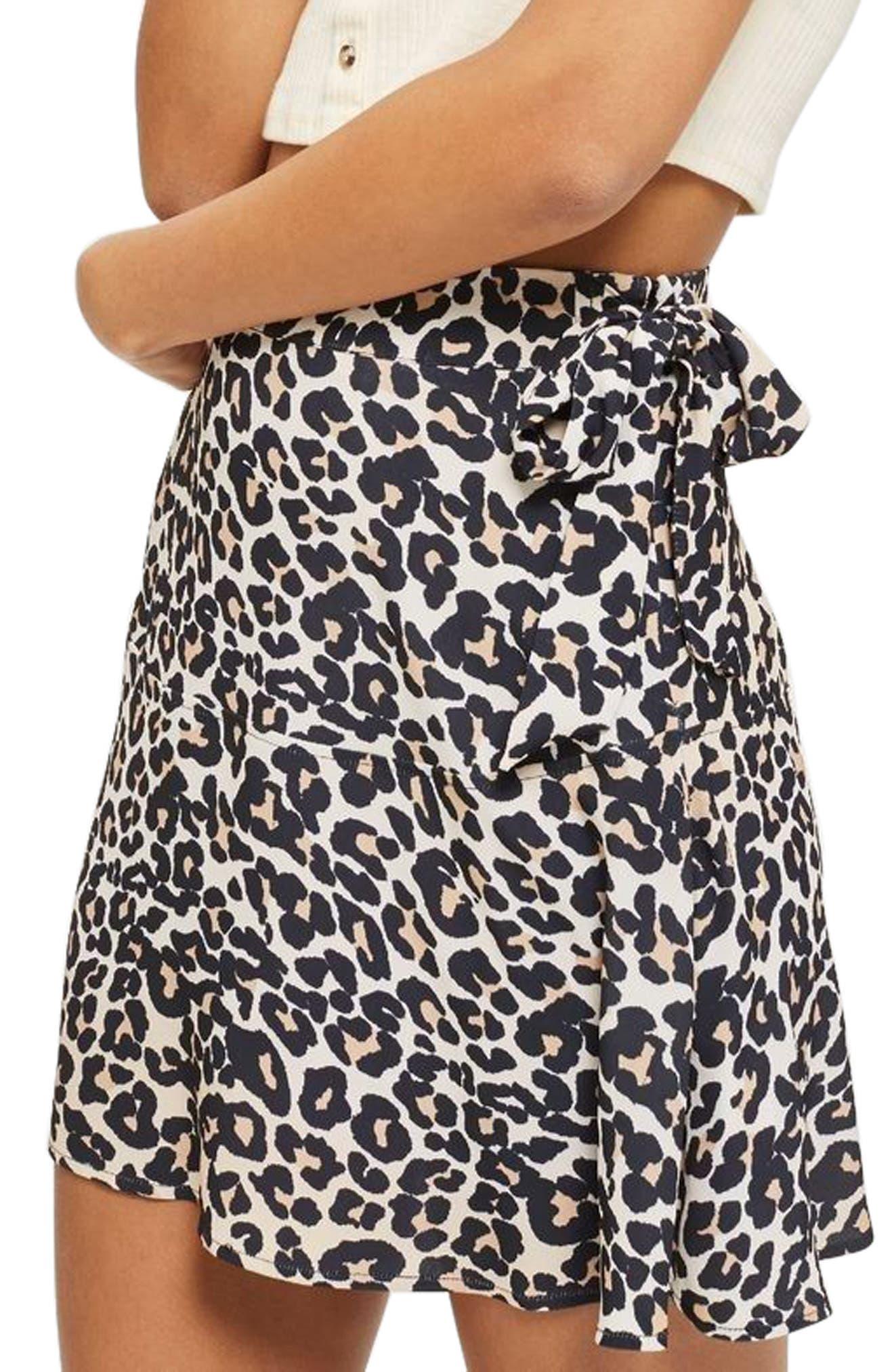 Leopard Print Miniskirt,                             Alternate thumbnail 3, color,                             211