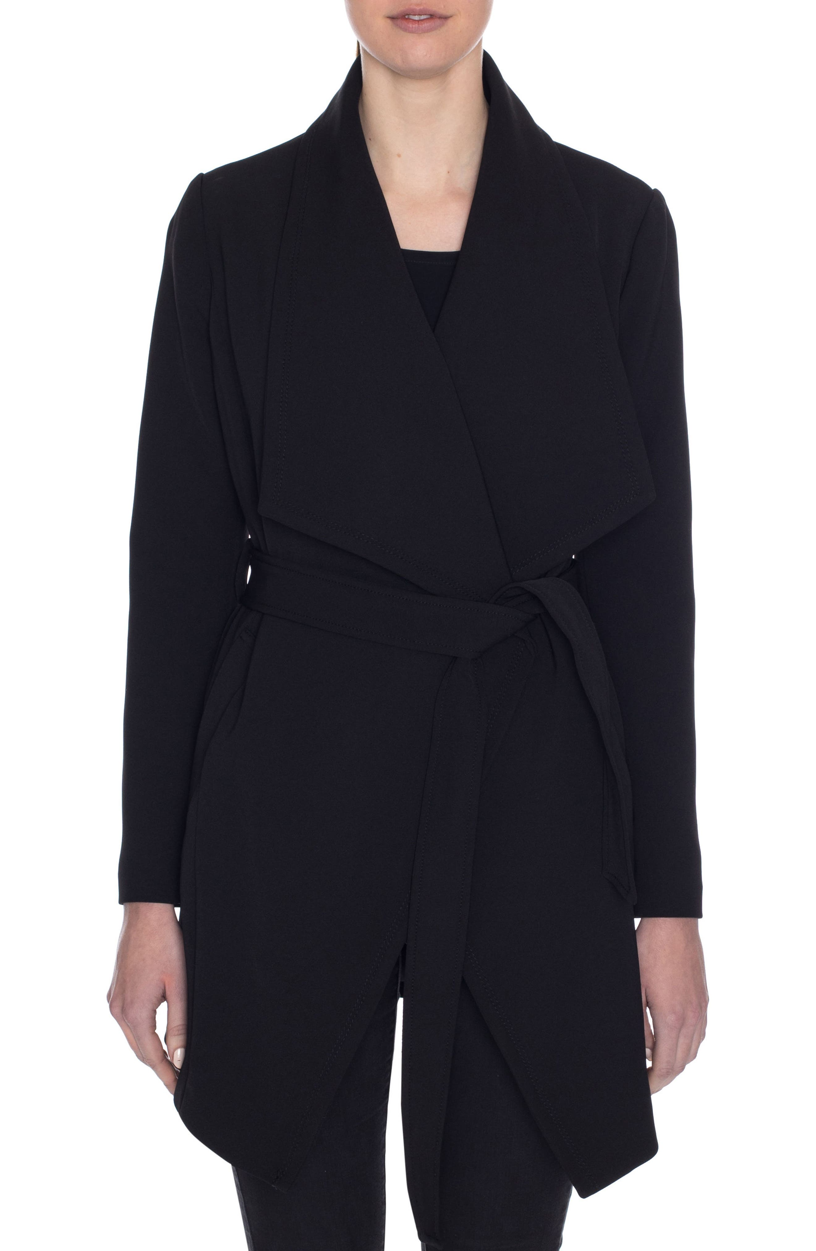 Abbey Draped Collar Wrap Coat,                             Main thumbnail 1, color,                             BLACK